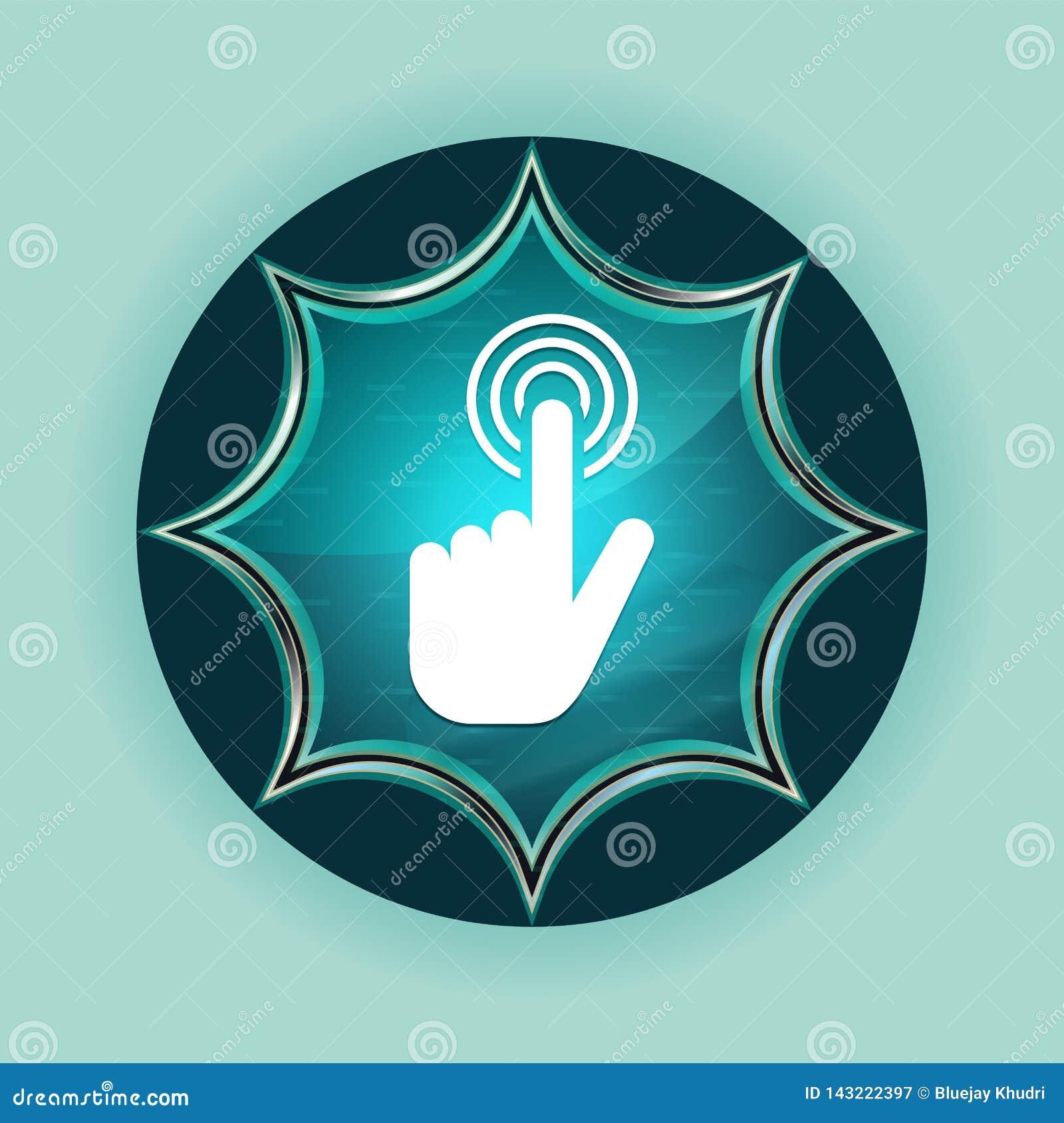 Fundo azul sunburst vítreo mágico dos azul-céu do botão do ícone do clique do cursor da mão