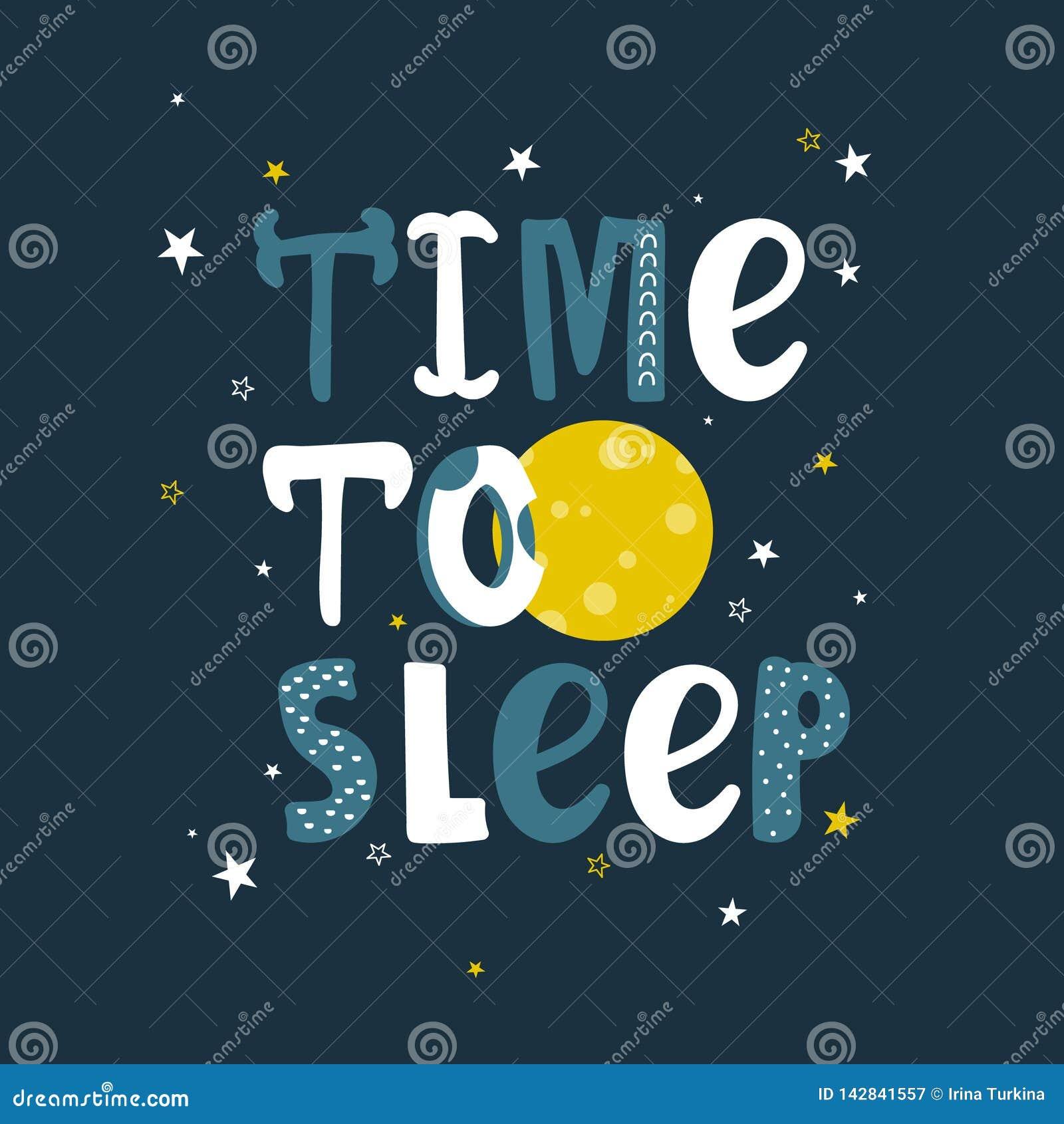 Fundo bonito colorido com lua, estrelas e texto ingl?s Hora de dormir, desig do cartaz