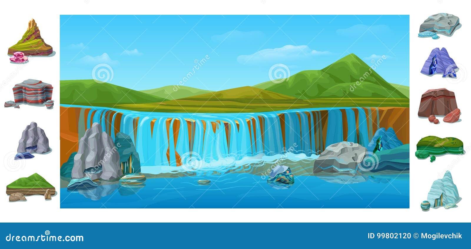Fundo Bonito Colorido Da Paisagem Da Natureza Dos Desenhos