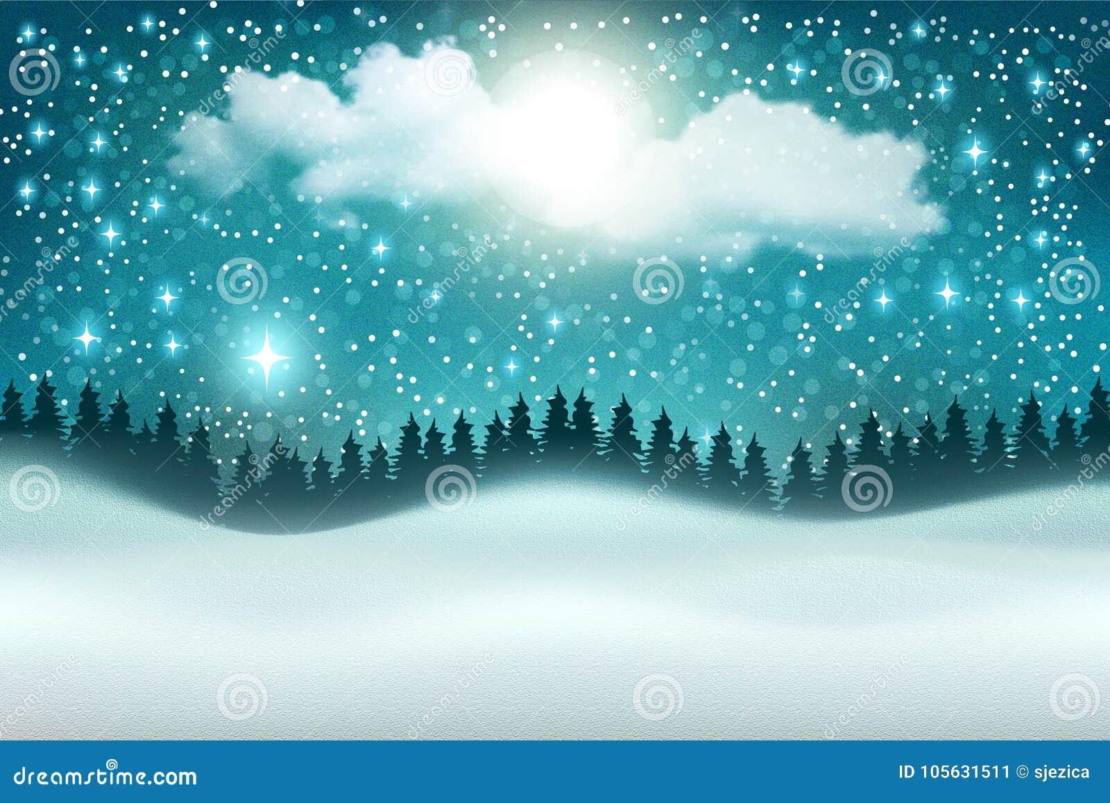 Fundo bonito da paisagem da noite do inverno do vetor