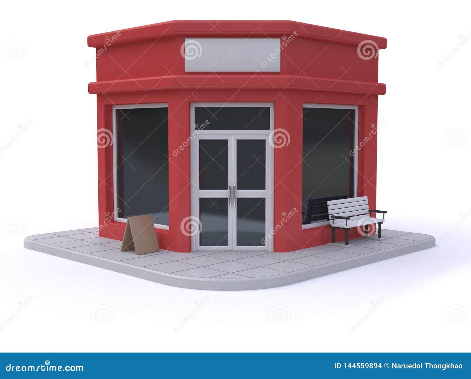 Fundo branco 3d do estilo vermelho dos desenhos animados da loja-loja para render