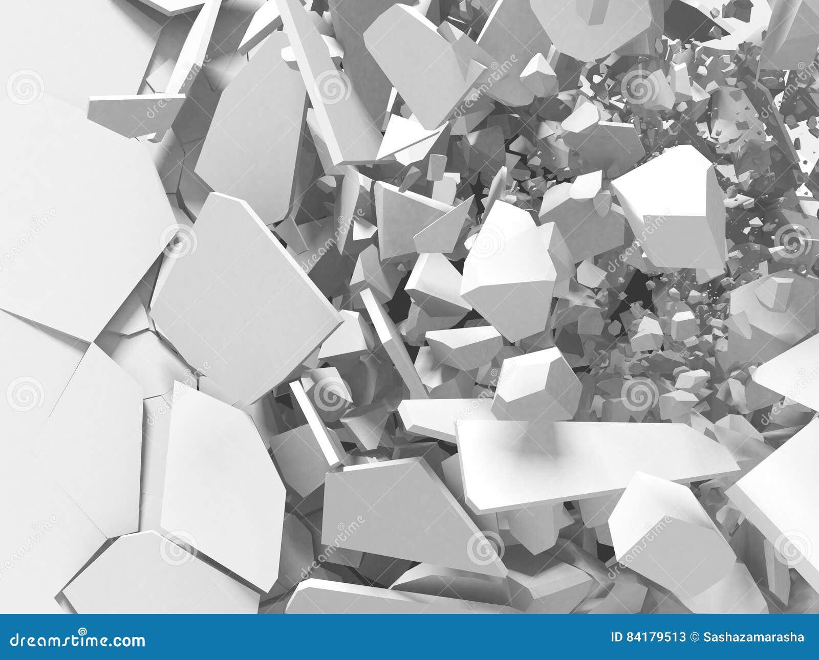Fundo branco do sumário da superfície da destruição da explosão rachada