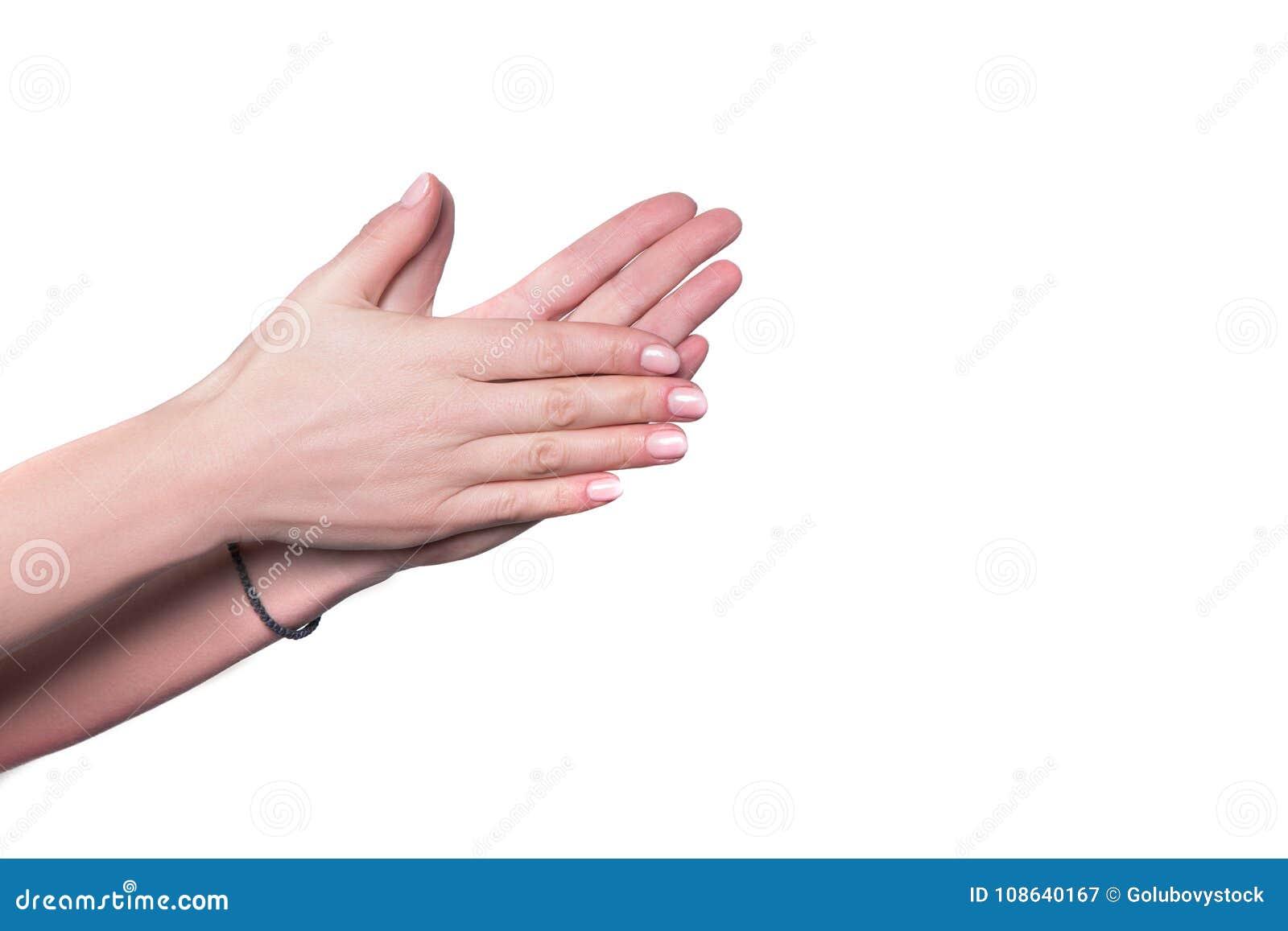Fundo branco isolado fricção da mão