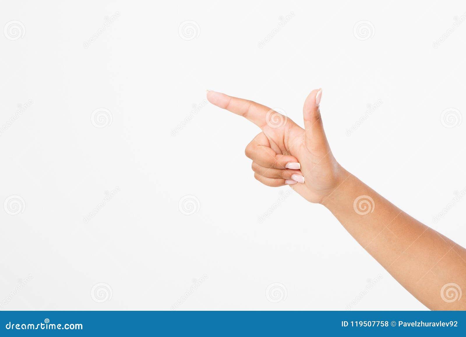 Fundo branco isolado ponto do dedo mão afro-americana Zombaria acima Copie o espaço molde blank