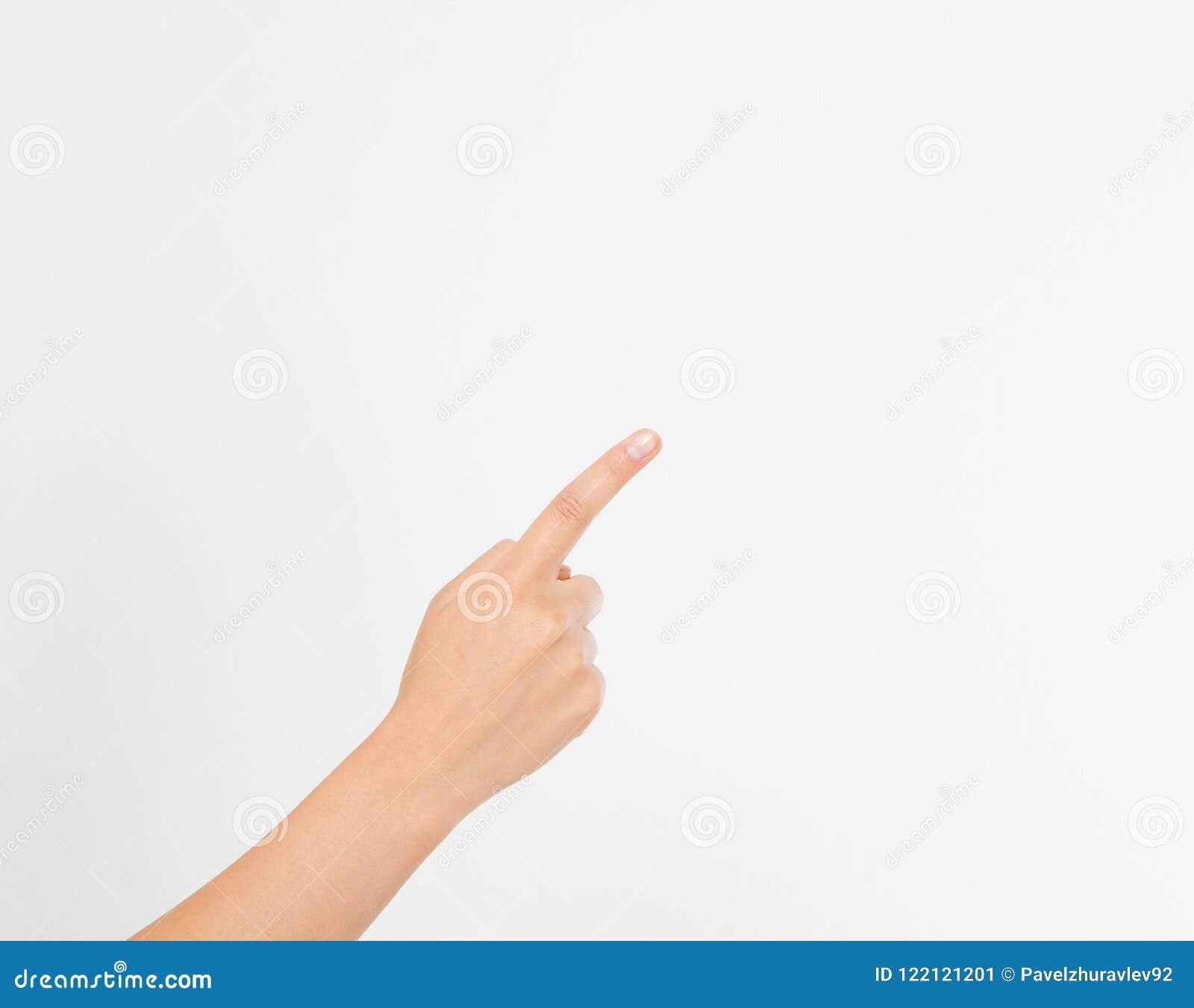 Fundo branco isolado ponto do dedo mão da menina da mulher Zombaria acima Copie o espaço molde blank