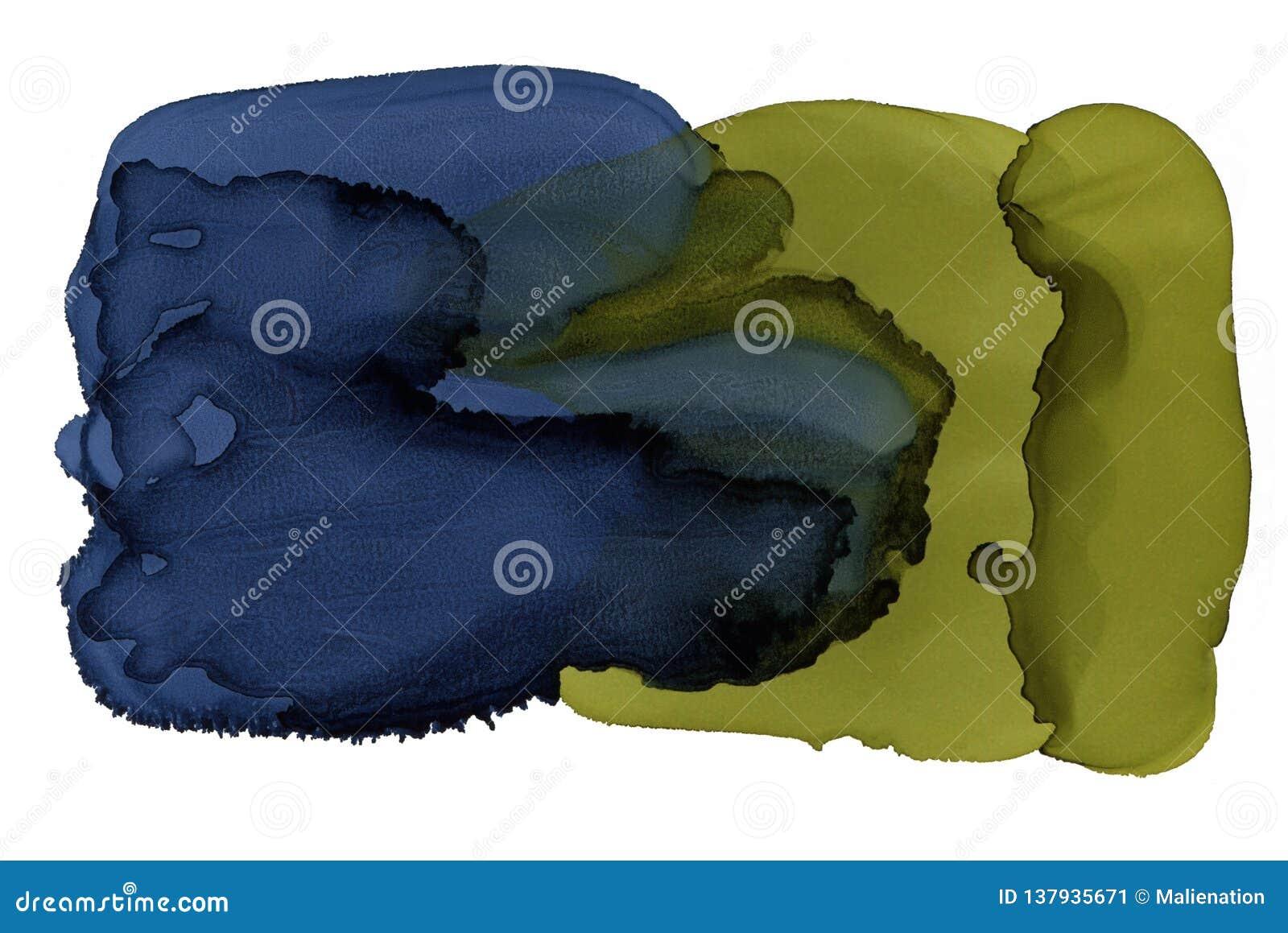 Fundo brilhante da aguarela Textura abstrata da tinta Cartaz ou contexto de empacotamento Cópia interior do azul e do gree