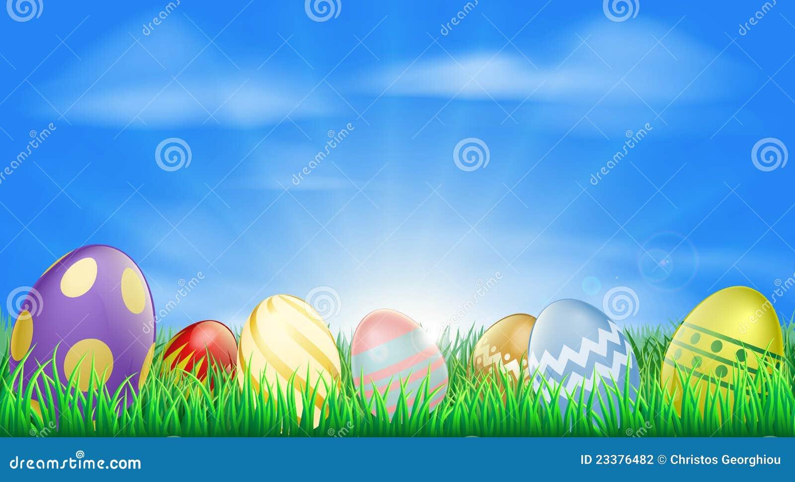 Fundo brilhante dos ovos de Easter