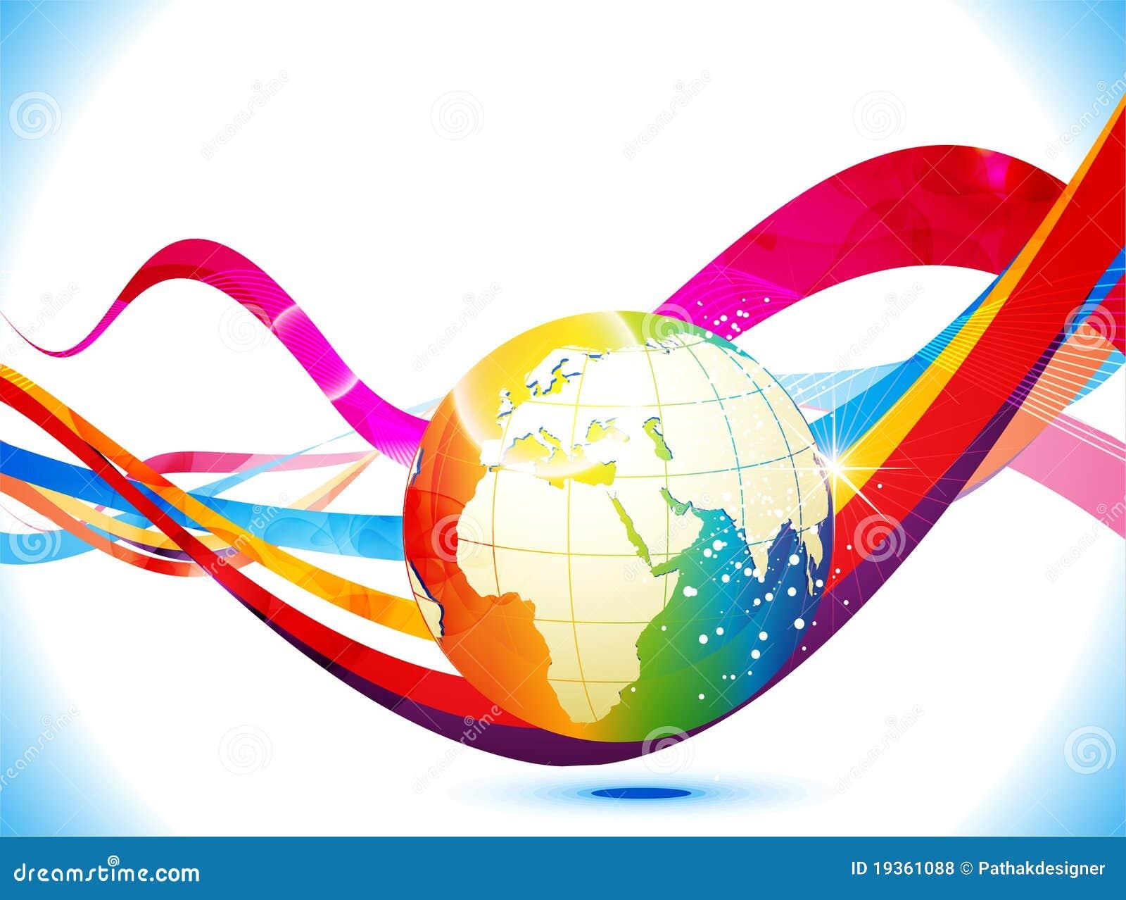 Fundo colorido abstrato com globo