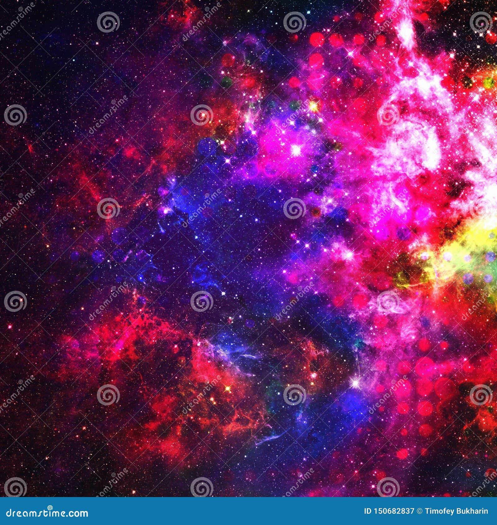 Fundo colorido abstrato do espa?o Estrelas de um planeta e de uma galáxia no espaço em uma cor cor-de-rosa de néon Fundo e textur