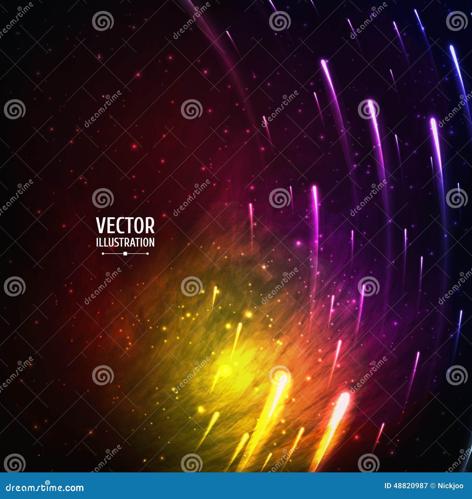 Fundo colorido da galáxia do espaço com luz,