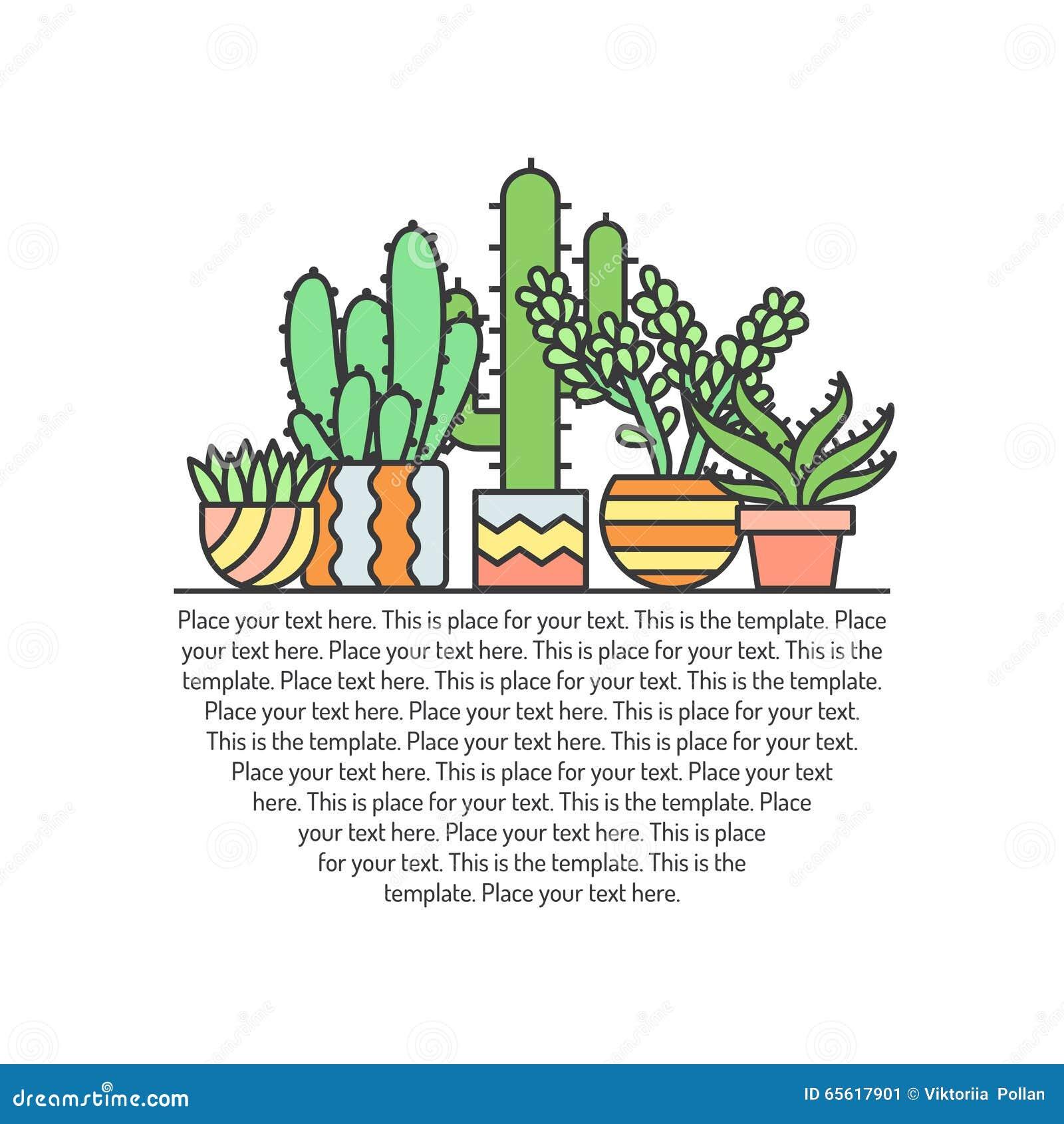 Fundo colorido do vetor do esboço das plantas carnudas e dos cactos Projeto de Minimalistic Parte três
