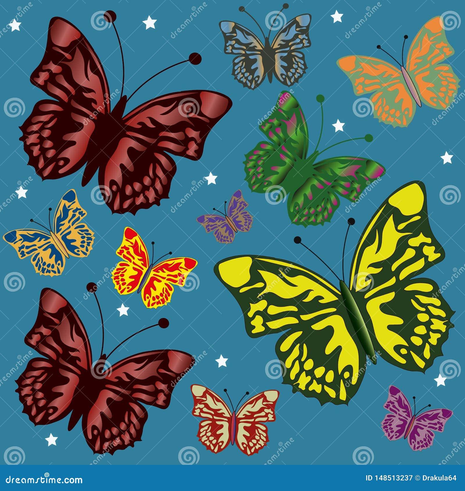 Fundo com borboletas coloridas