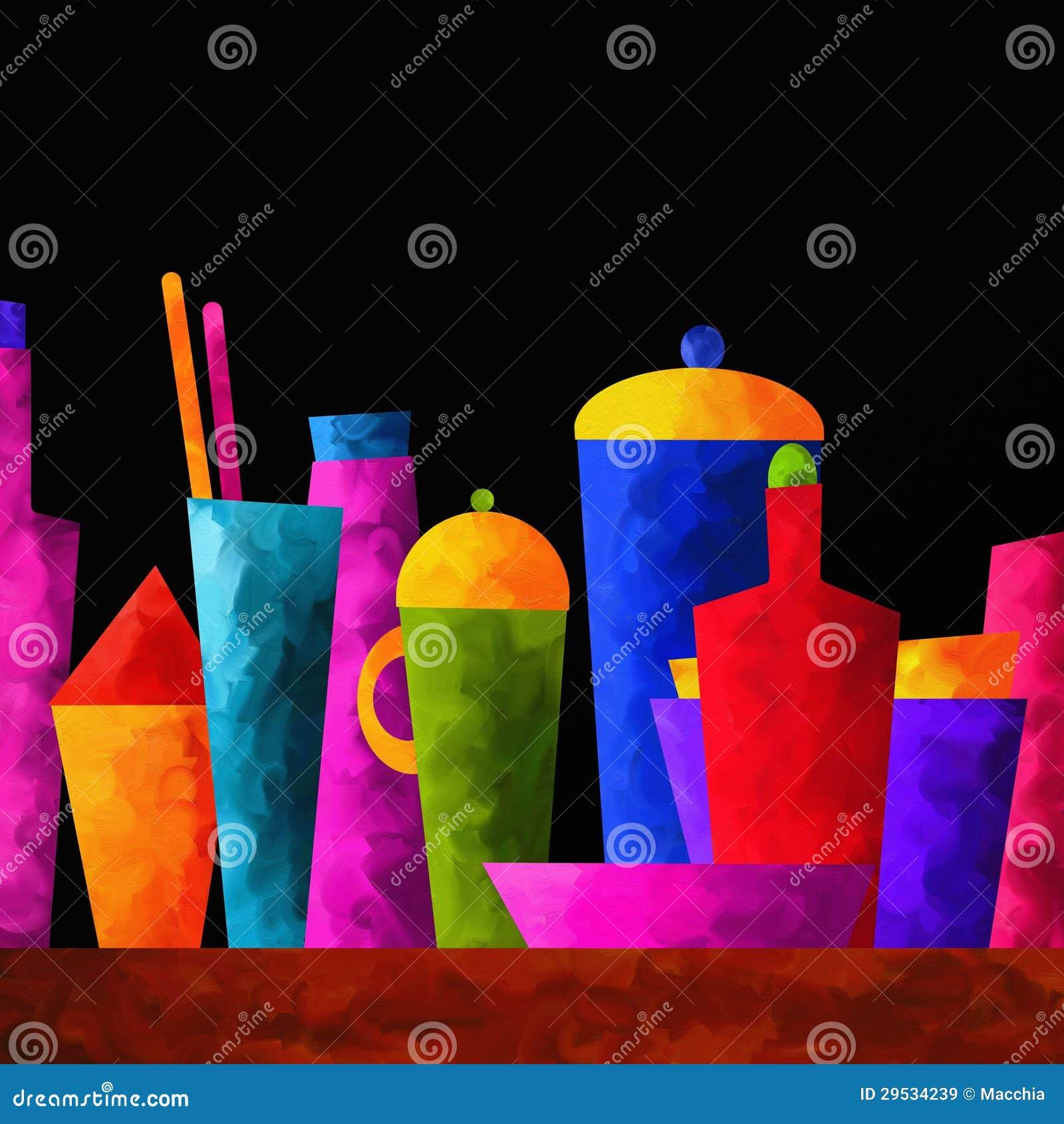 Fundo com garrafas coloridas