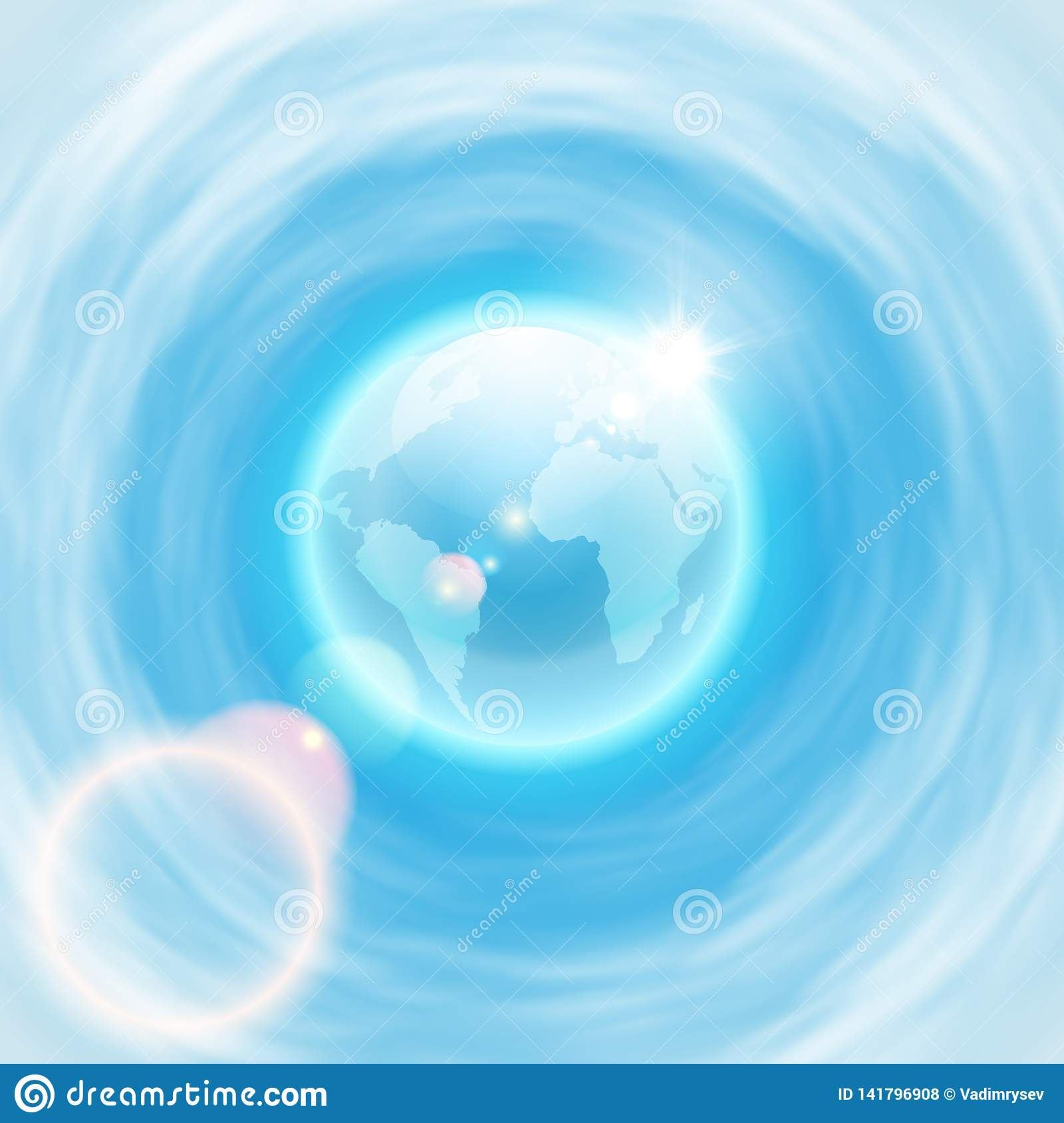 Fundo com globo e sol do brigh com alargamento da lente
