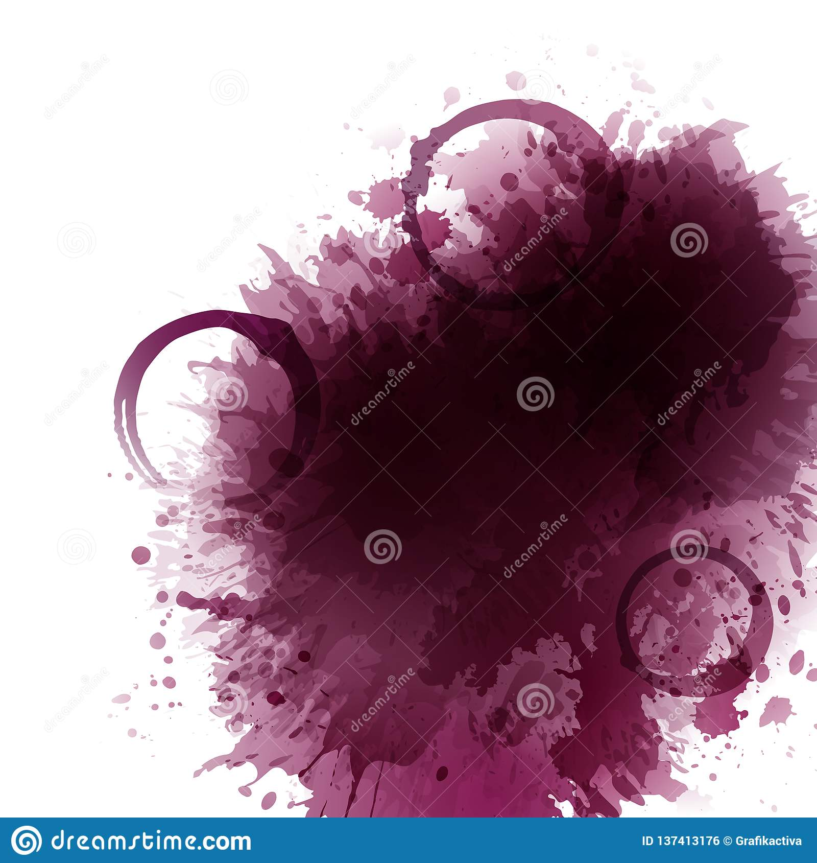 Fundo com manchas do vinho, pontos, vinho tinto das gotas Manchas dos vidros de vinho Fundo para bandeiras e cartazes relativos à