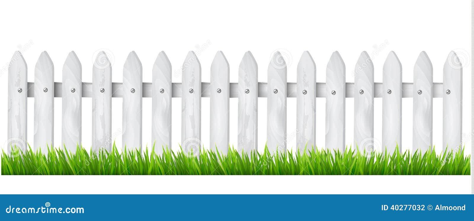 cerca para jardim branca : cerca para jardim branca:Fundo Com Uma Cerca De Madeira Branca Com Grama. Ilustração do Vetor