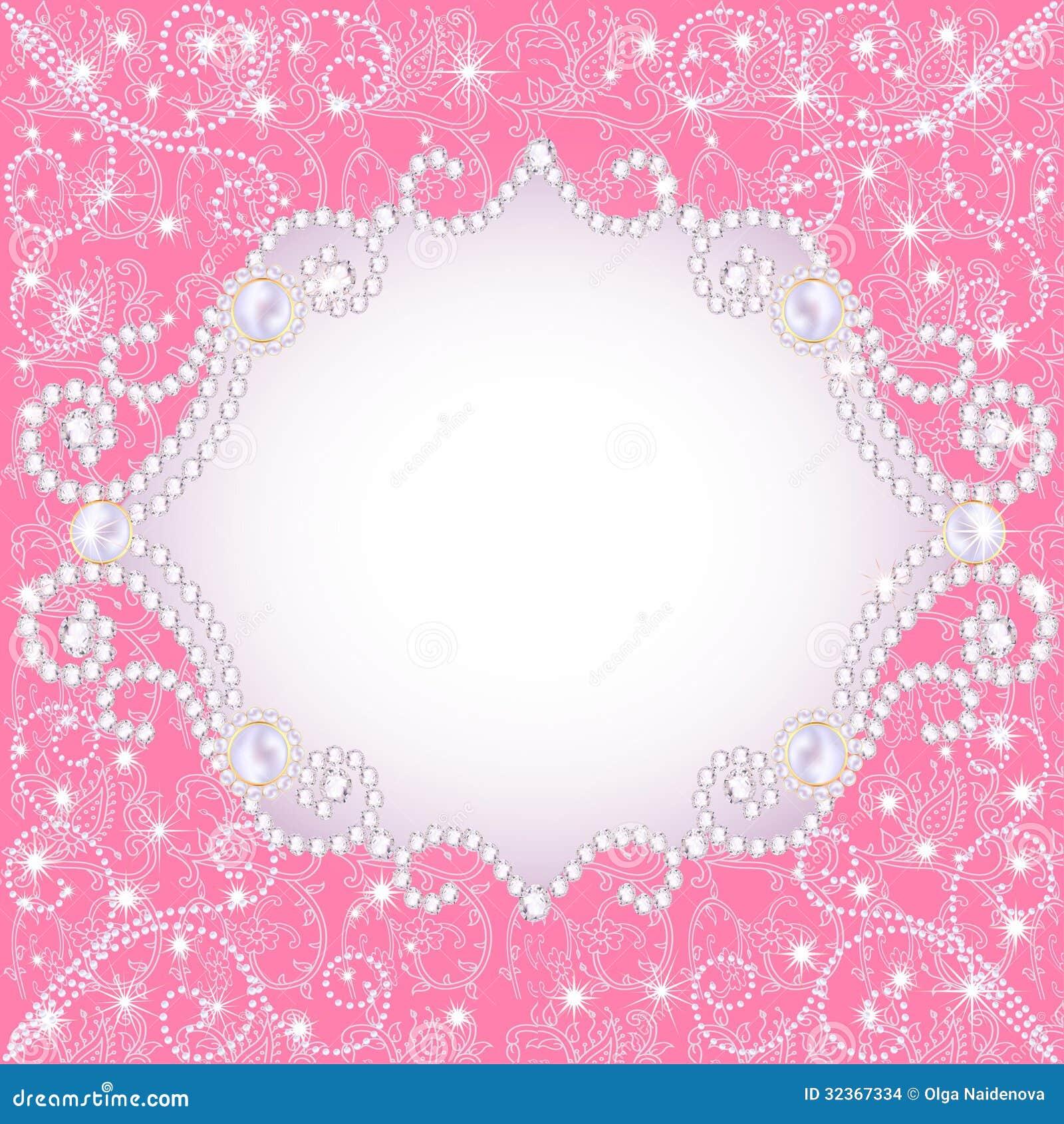 Fundo cor-de-rosa com pérolas, para convidar