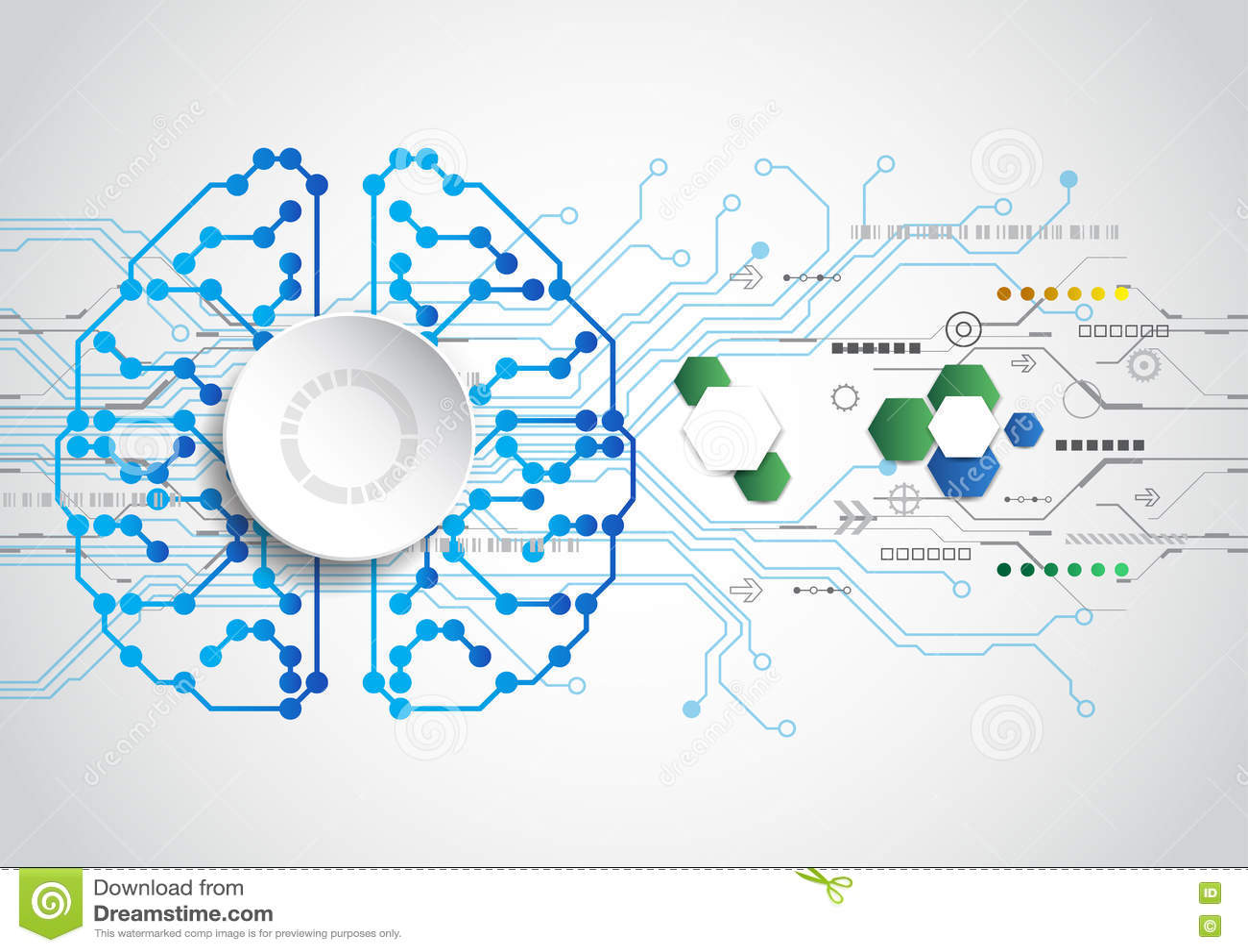 Fundo criativo do conceito do cérebro Conceito da inteligência artificial Ilustração da ciência do vetor