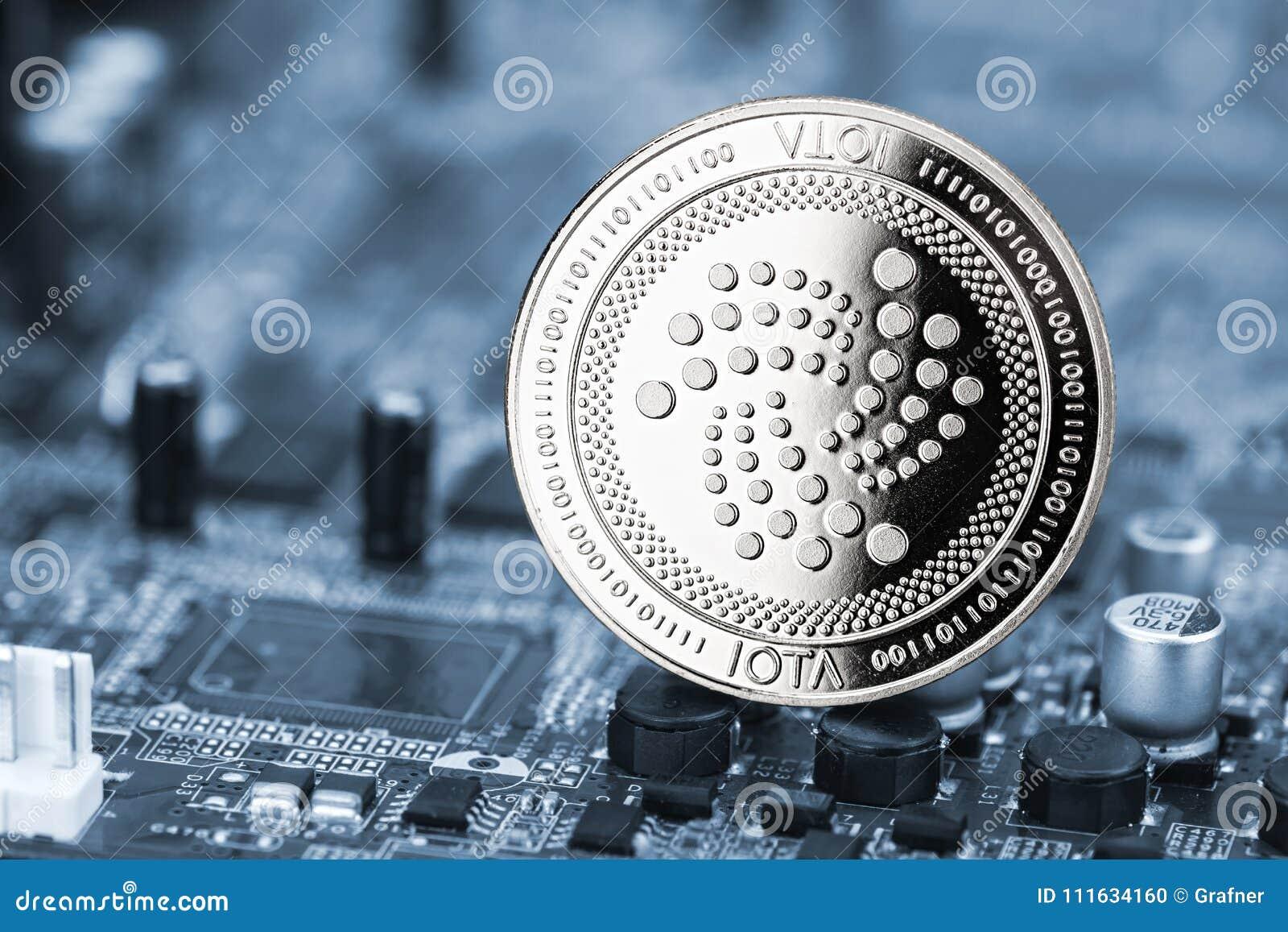 Fundo cripto do computador da mineração da moeda de prata da moeda do Iota