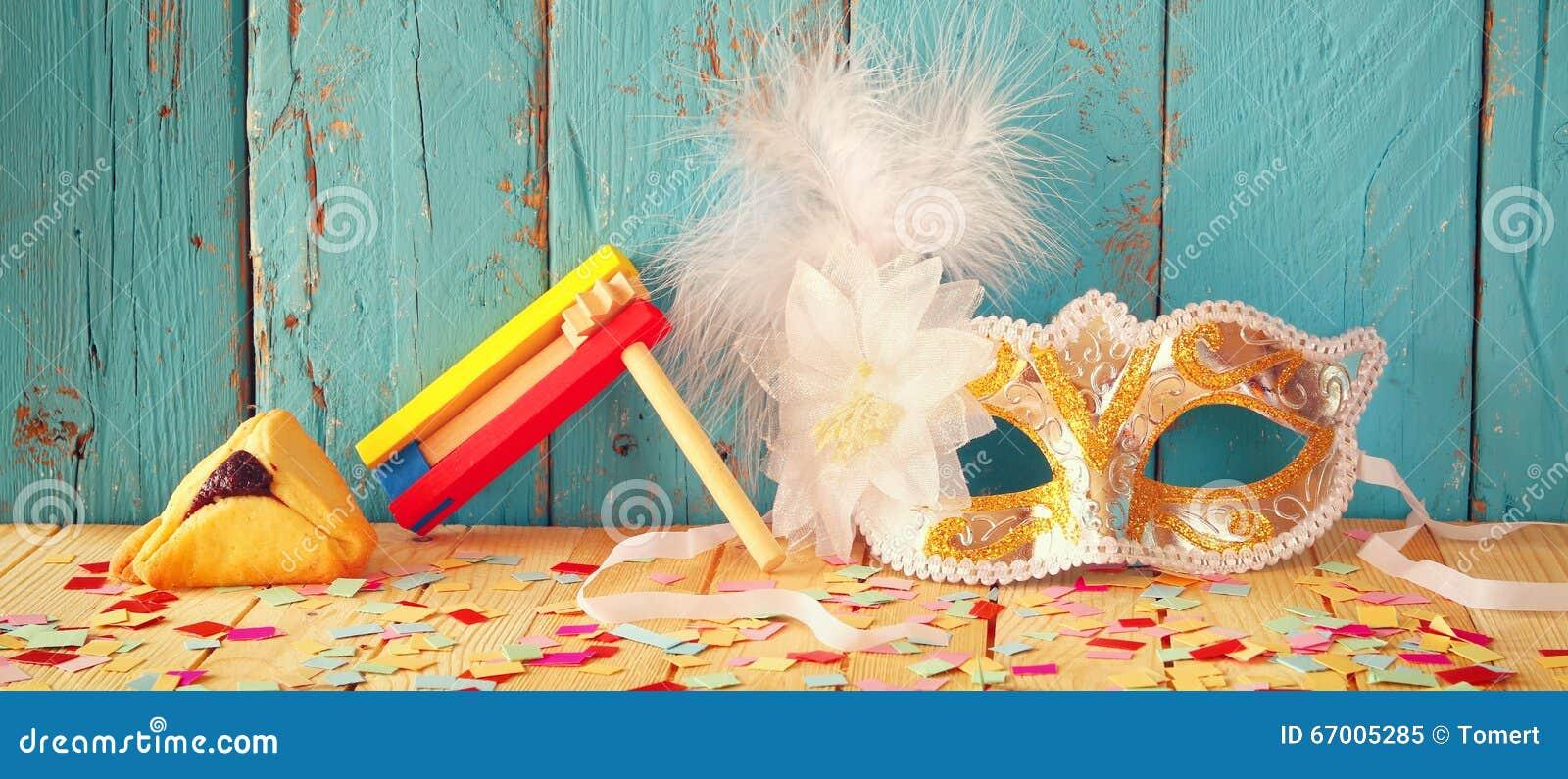 Fundo da bandeira do Web site do conceito da celebração de Purim (feriado judaico do carnaval) Foco seletivo Vintage filtrado
