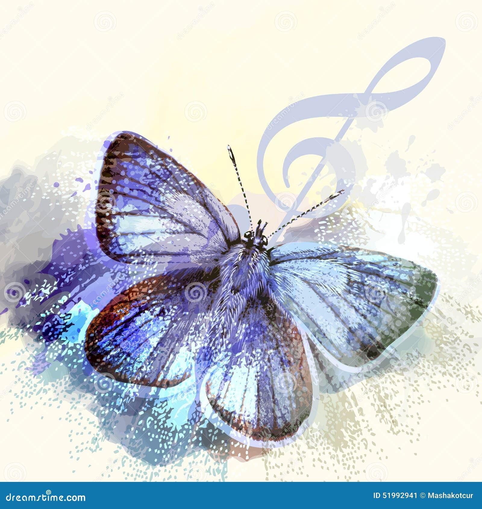 Fundo da borboleta da forma com clave de sol e borboleta