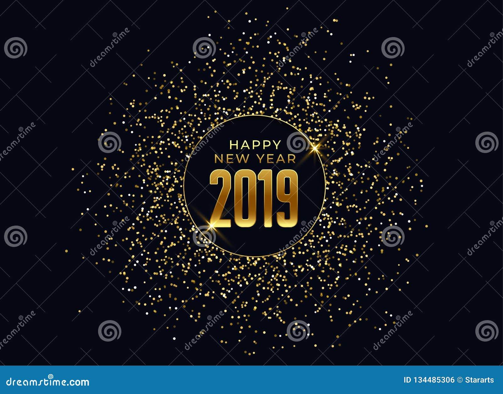 Fundo da celebração do ano 2019 novo feliz com brilho e sparkles