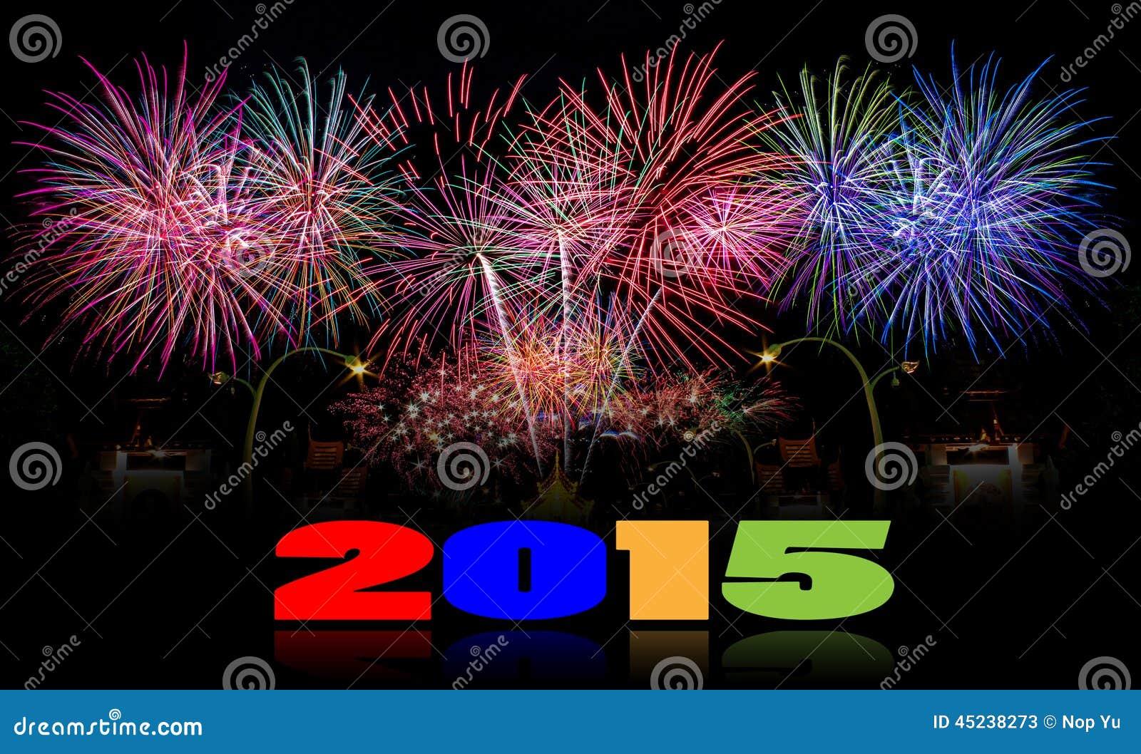 Fundo 2015 da celebração do fogo de artifício do ano novo