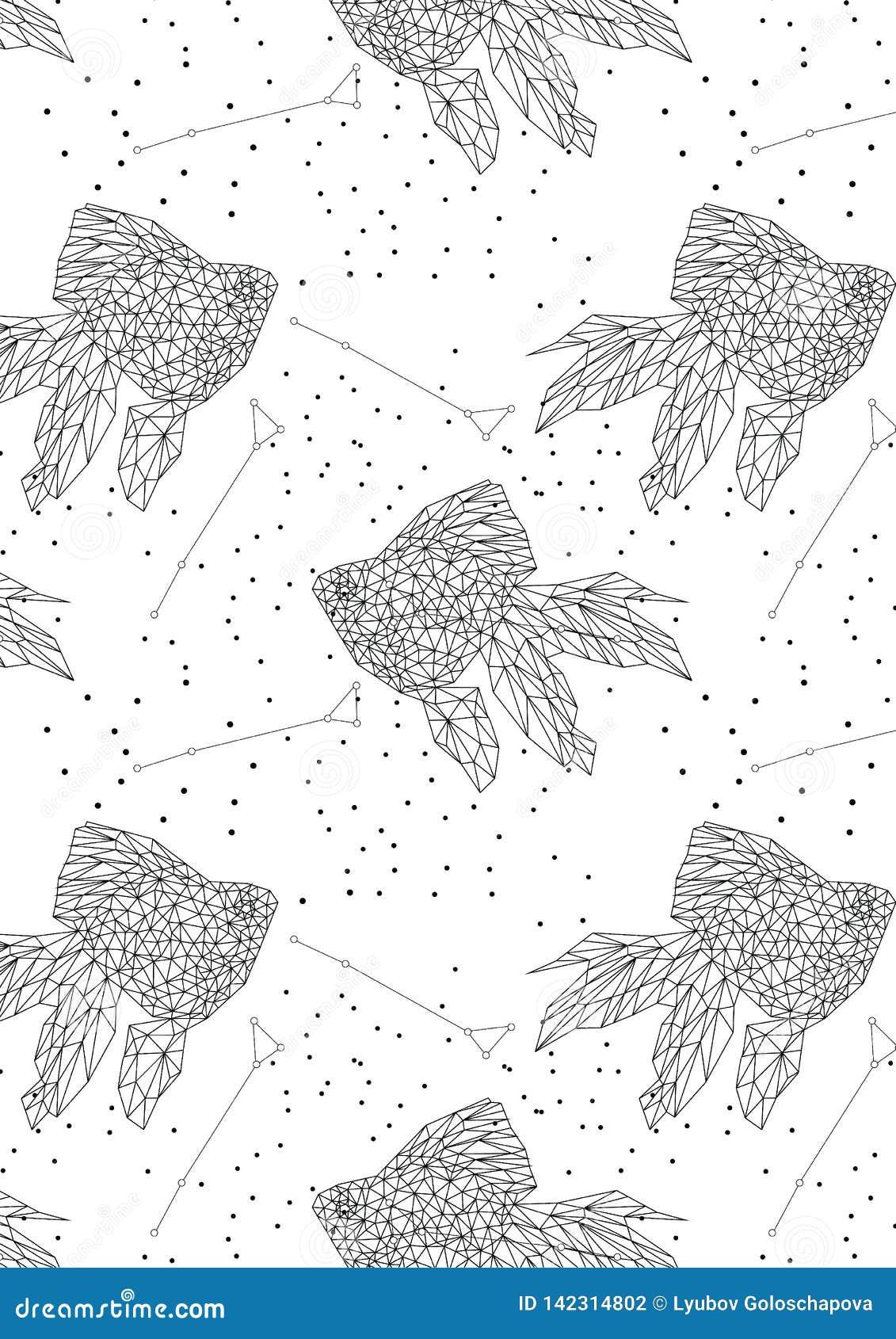Fundo da constelação da constelação preto e branco dos peixes do ouro na forma geométrica