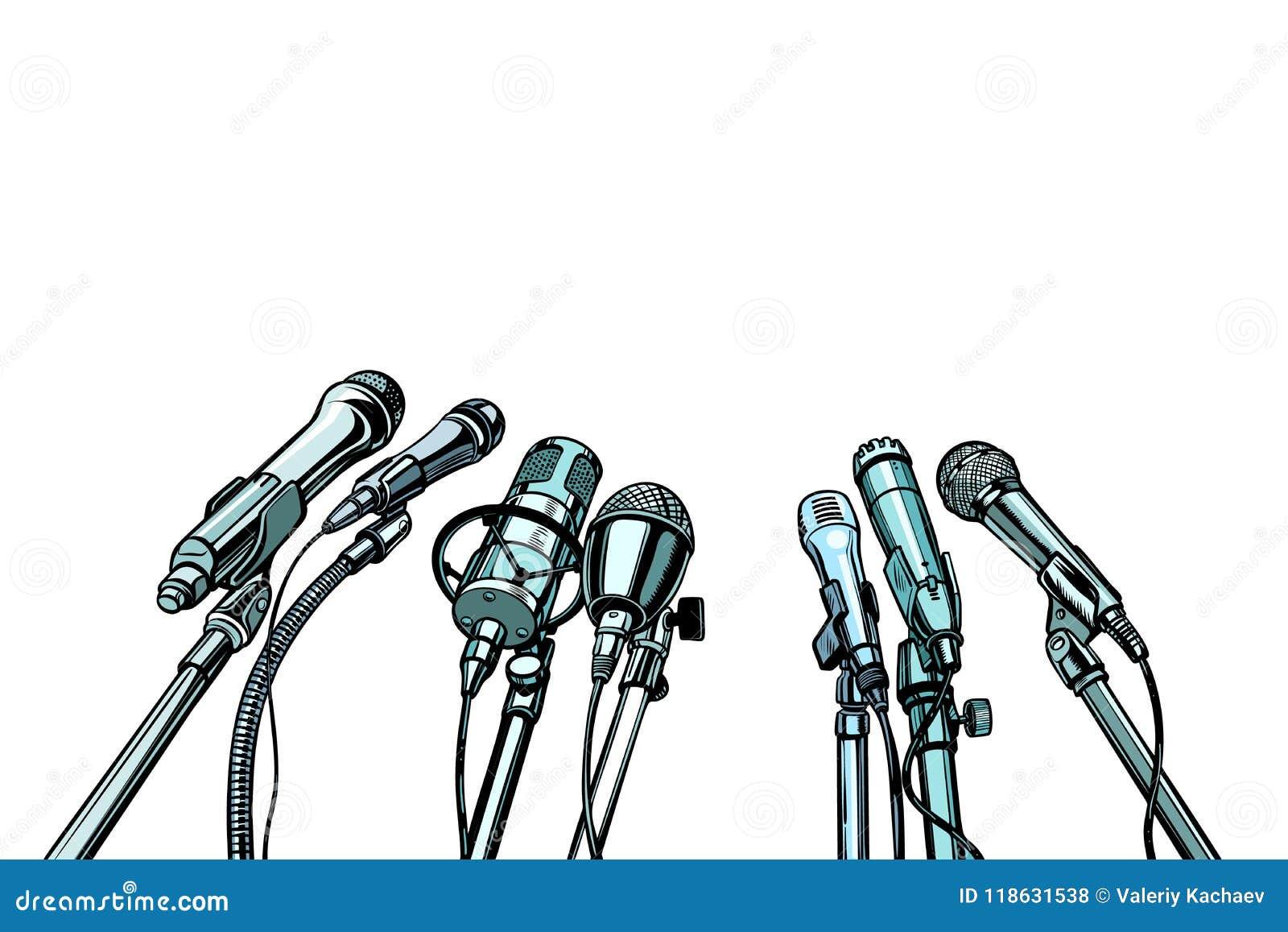 Fundo da entrevista de muitos microfones