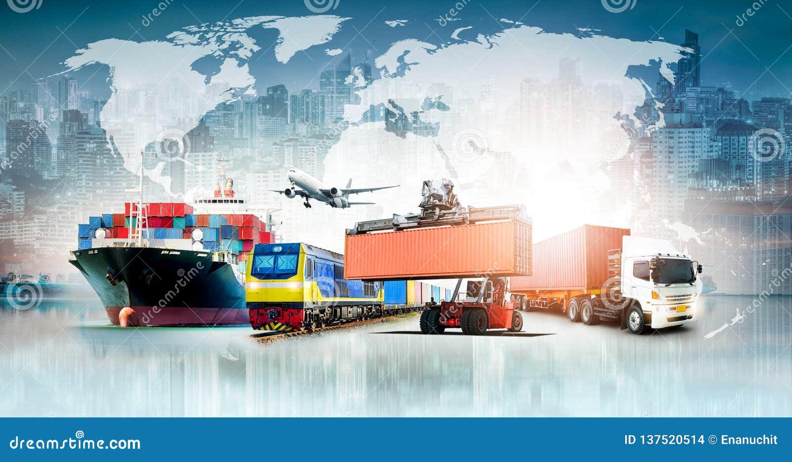 Fundo da exportação da importação da logística de negócio global