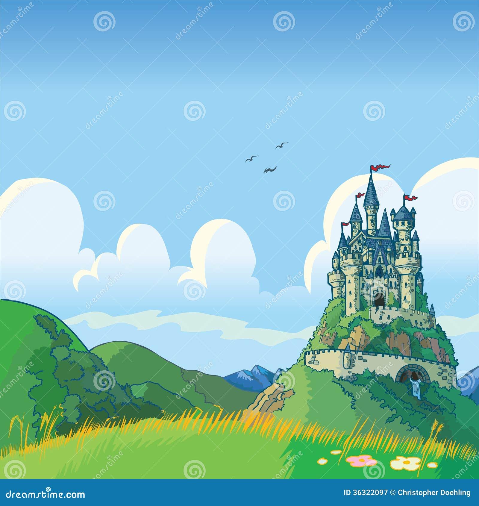 Fundo da fantasia com desenhos animados do vetor do castelo