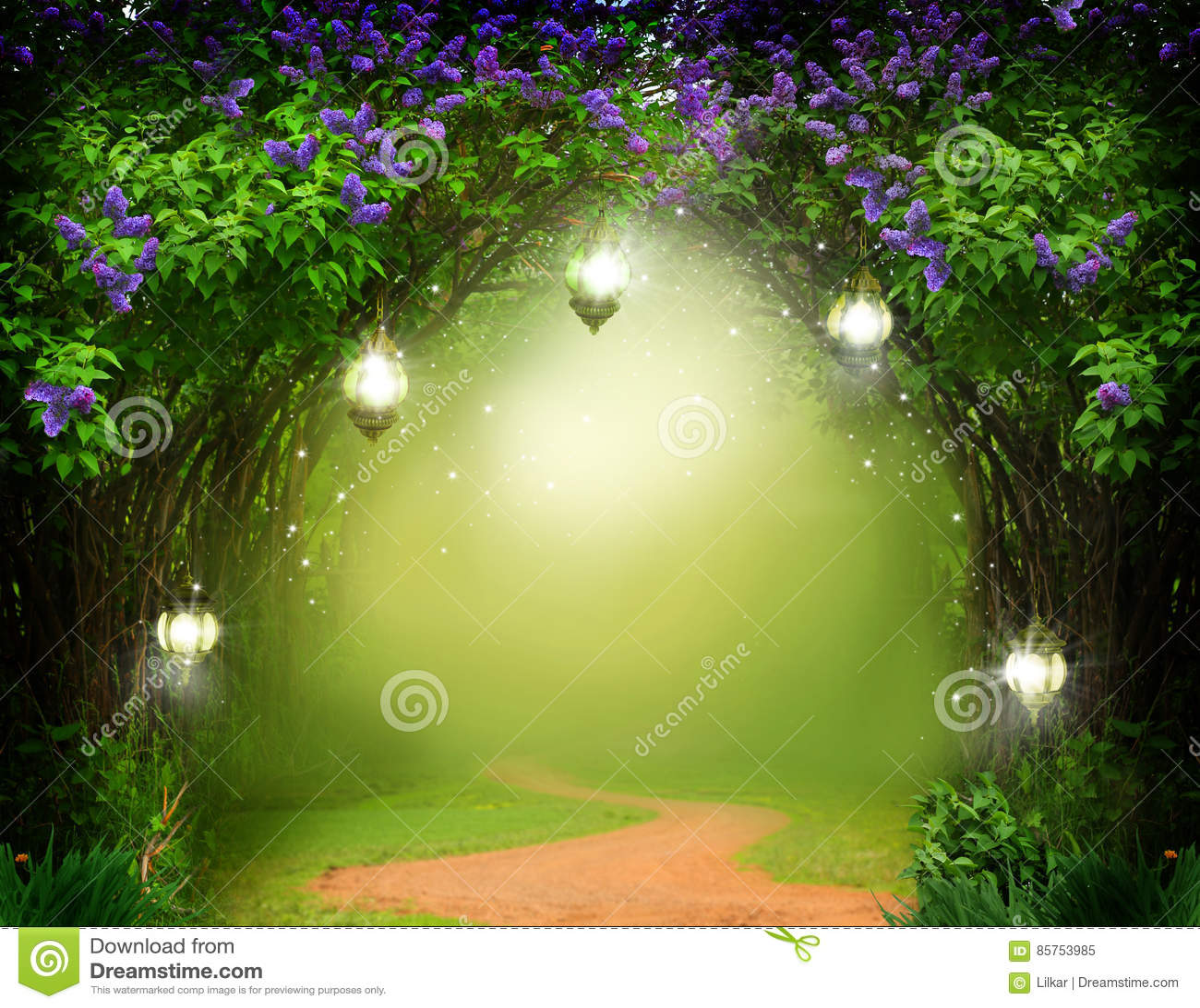 Fundo da fantasia Floresta mágica com estrada