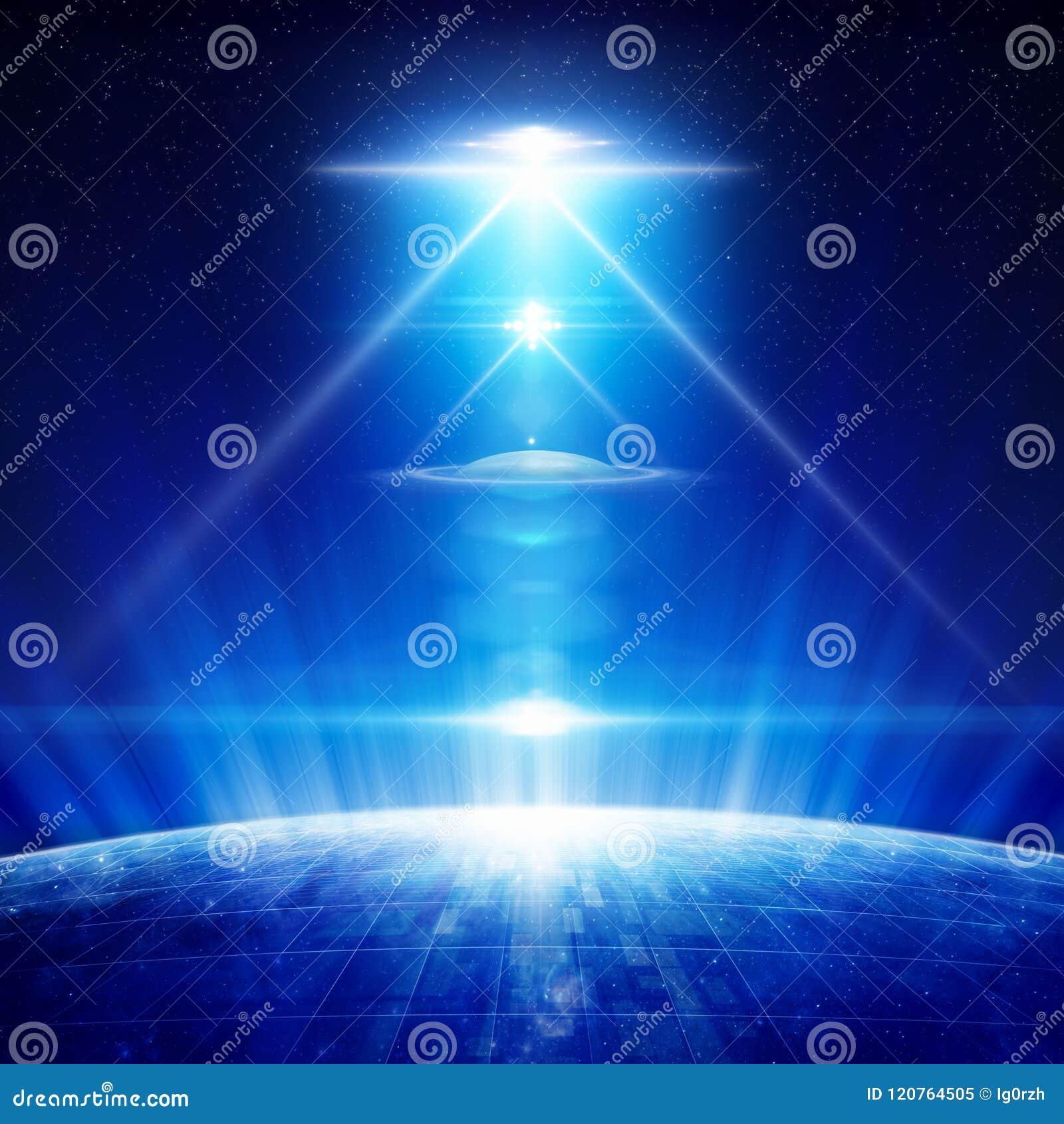 Fundo da ficção científica - UFO com os projetores brilhantes acima do planeta