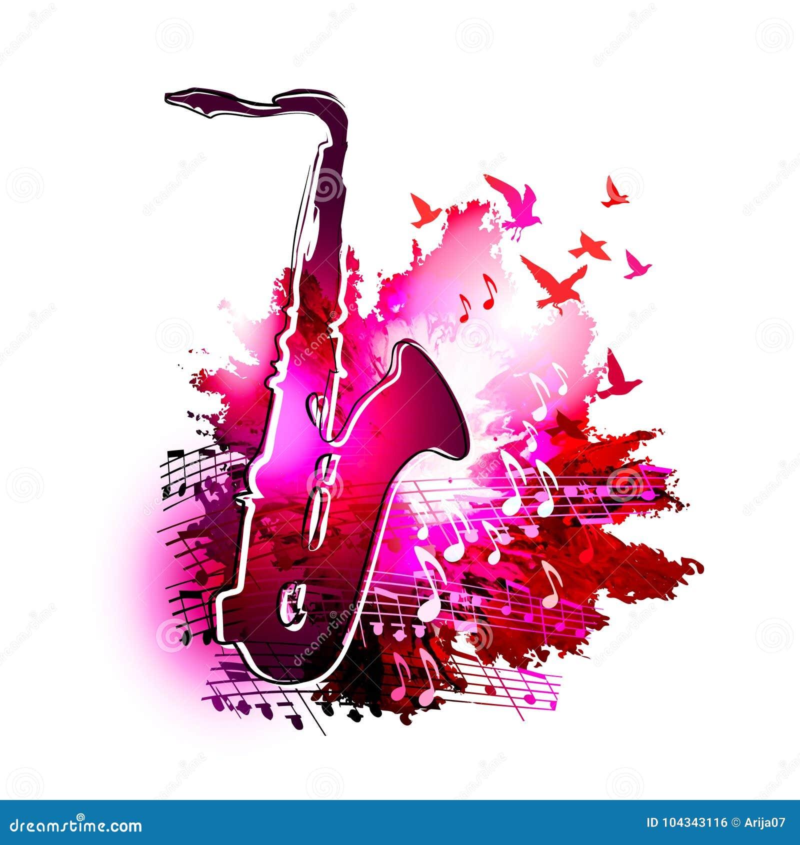Fundo da música com saxofone, notas musicais e pintura da aquarela de Digitas dos pássaros de voo