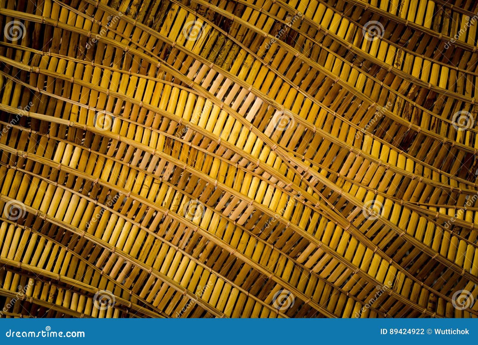 Fundo da natureza do surfa marrom do bambu da textura do weave do artesanato