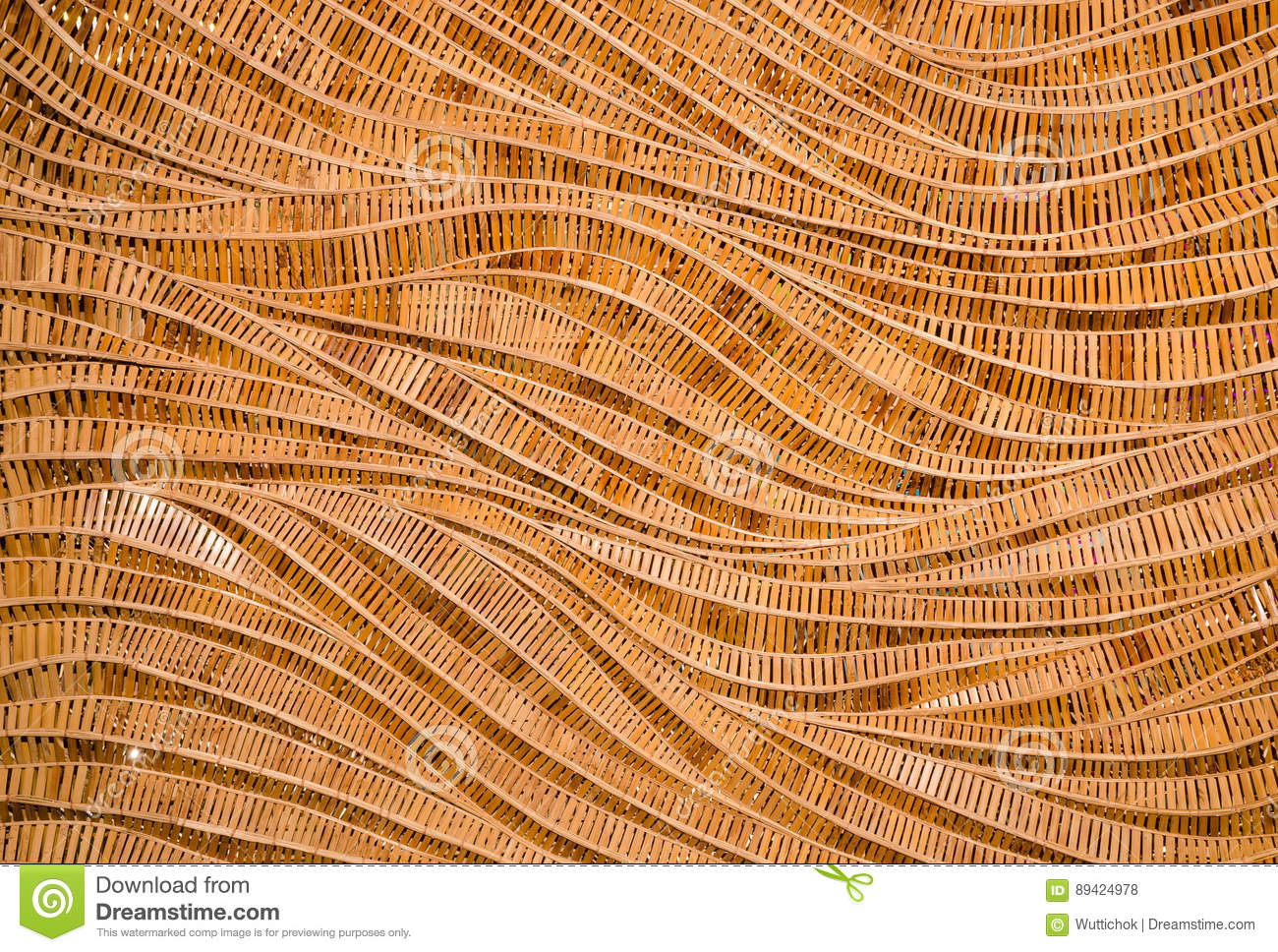 Fundo da natureza do surfa marrom do bambu da textura do weave do artesanato