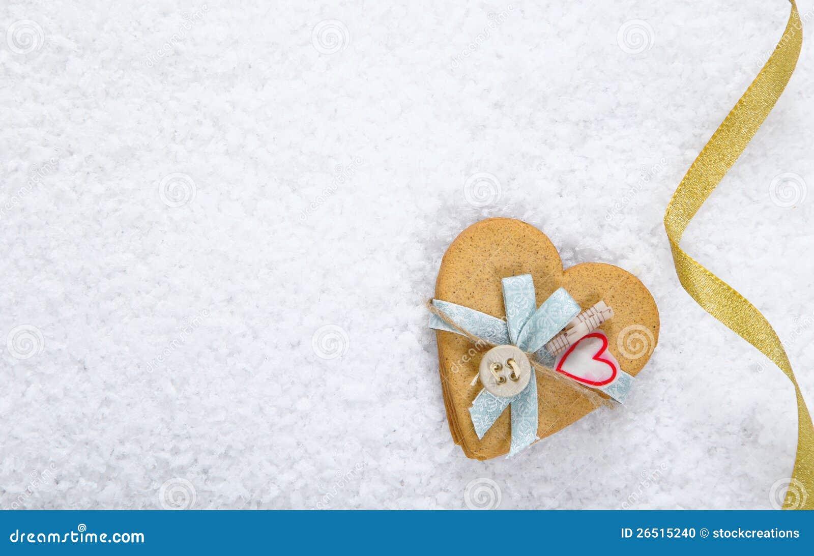 Fundo da neve com coração