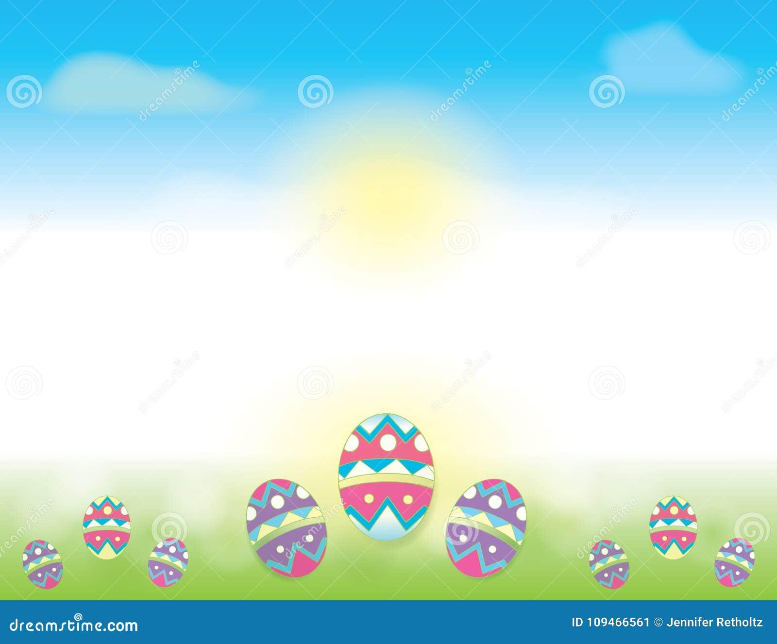 Fundo da Páscoa com céus azuis e ovos da páscoa decorados na grama verde