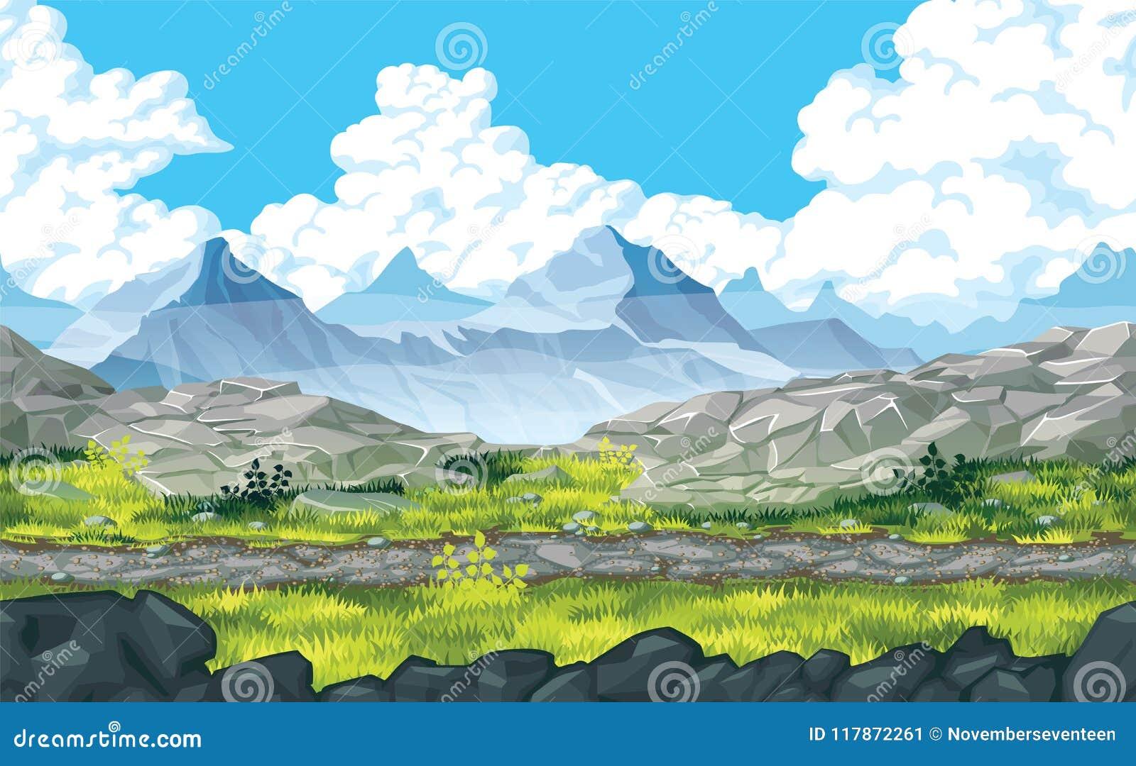 Fundo da paisagem com rochas e montanhas