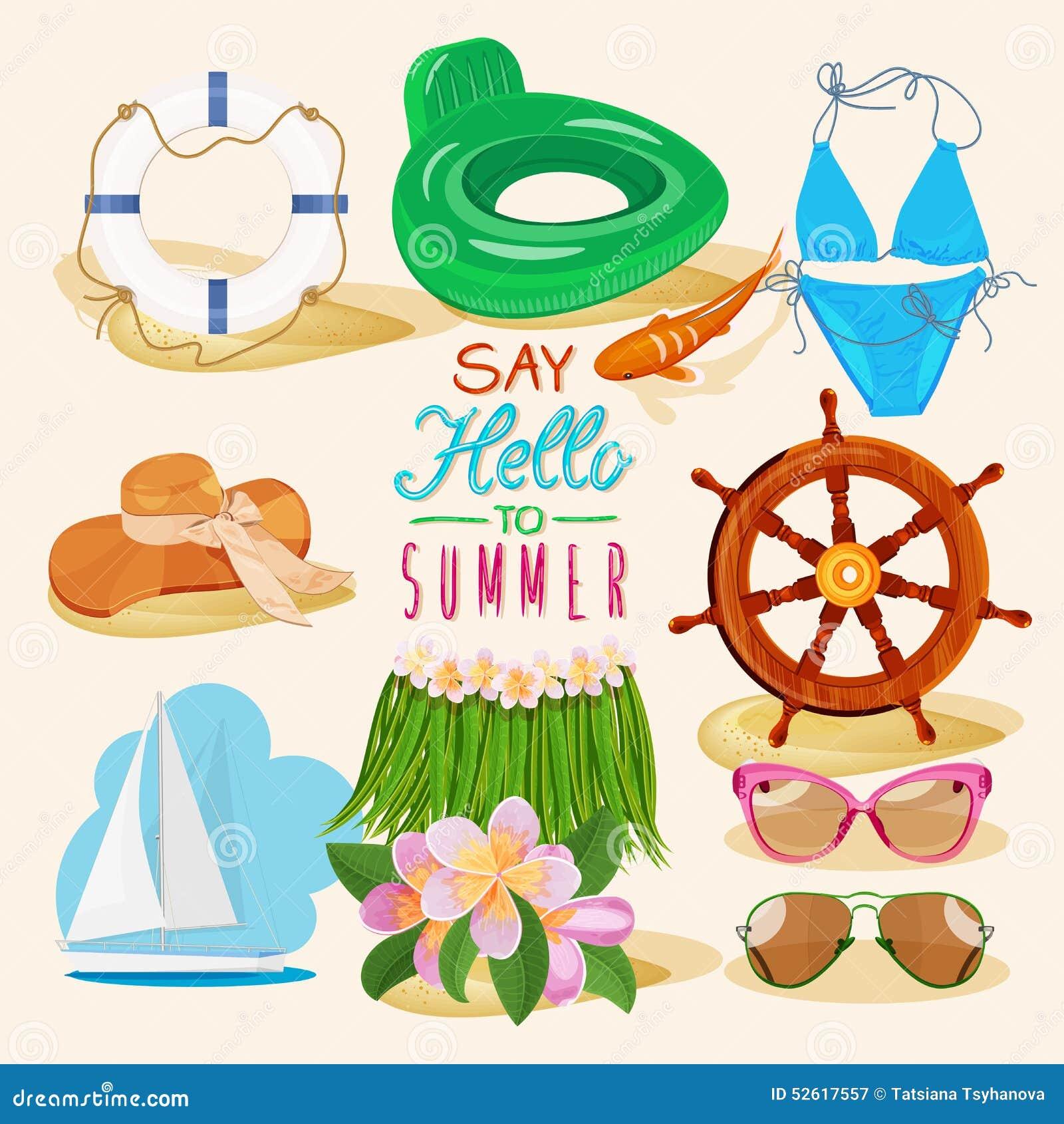 fundo da praia do verão com objetos do curso ilustração do vetor