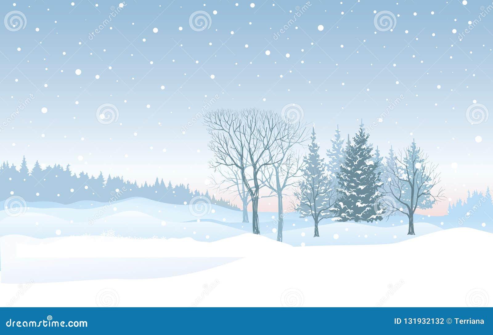 Fundo da queda de neve do Natal Paisagem do inverno da neve Chri alegre