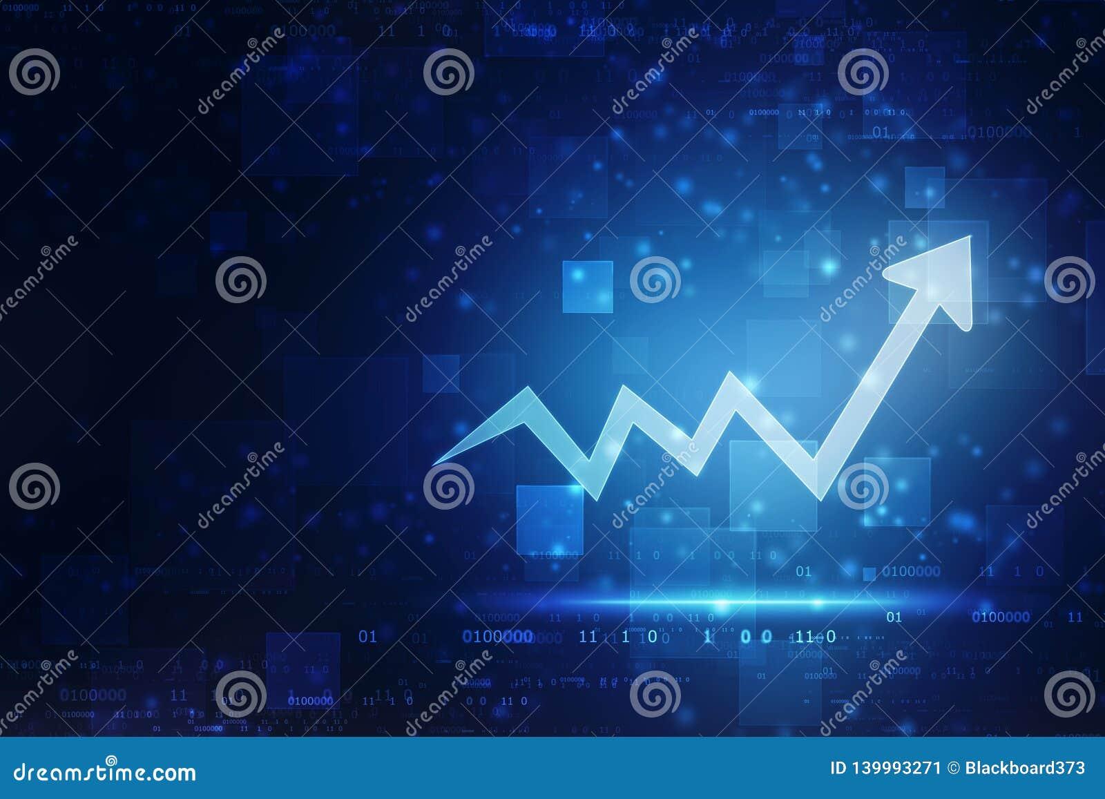 Fundo da tecnologia da transformação digital futurista da carta da seta do aumento, mercado de valores de ação e fundo abstratos