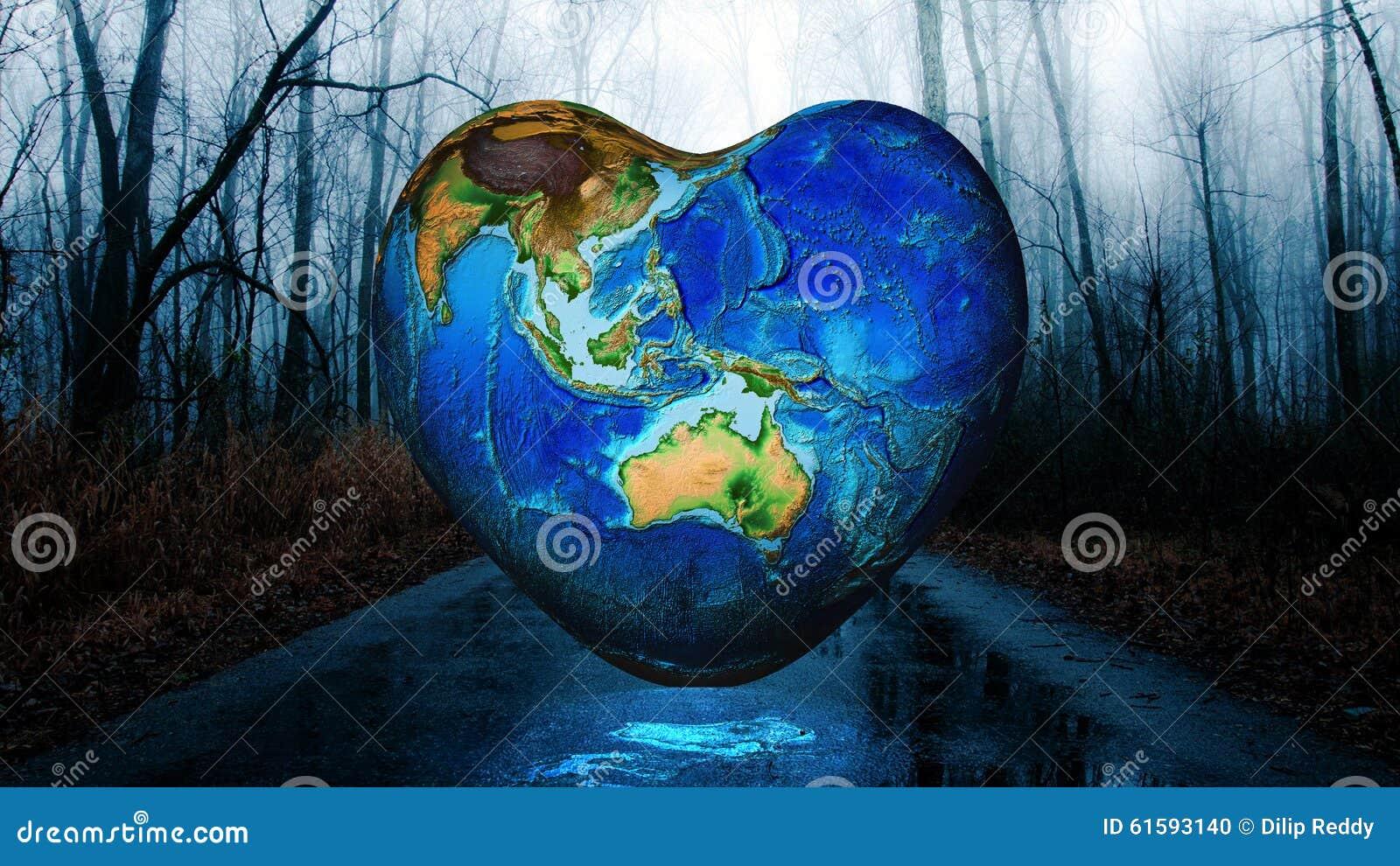 Fundo da terra da forma do coração