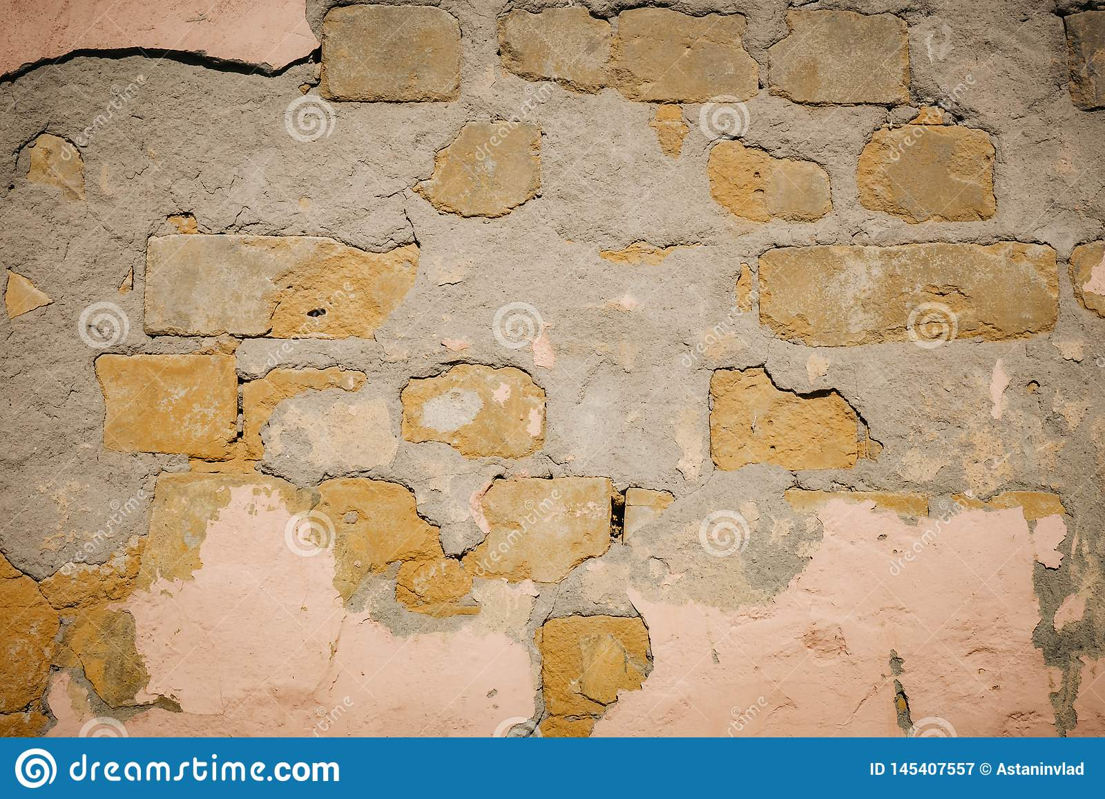 Fundo da textura da parede de tijolo da quebra