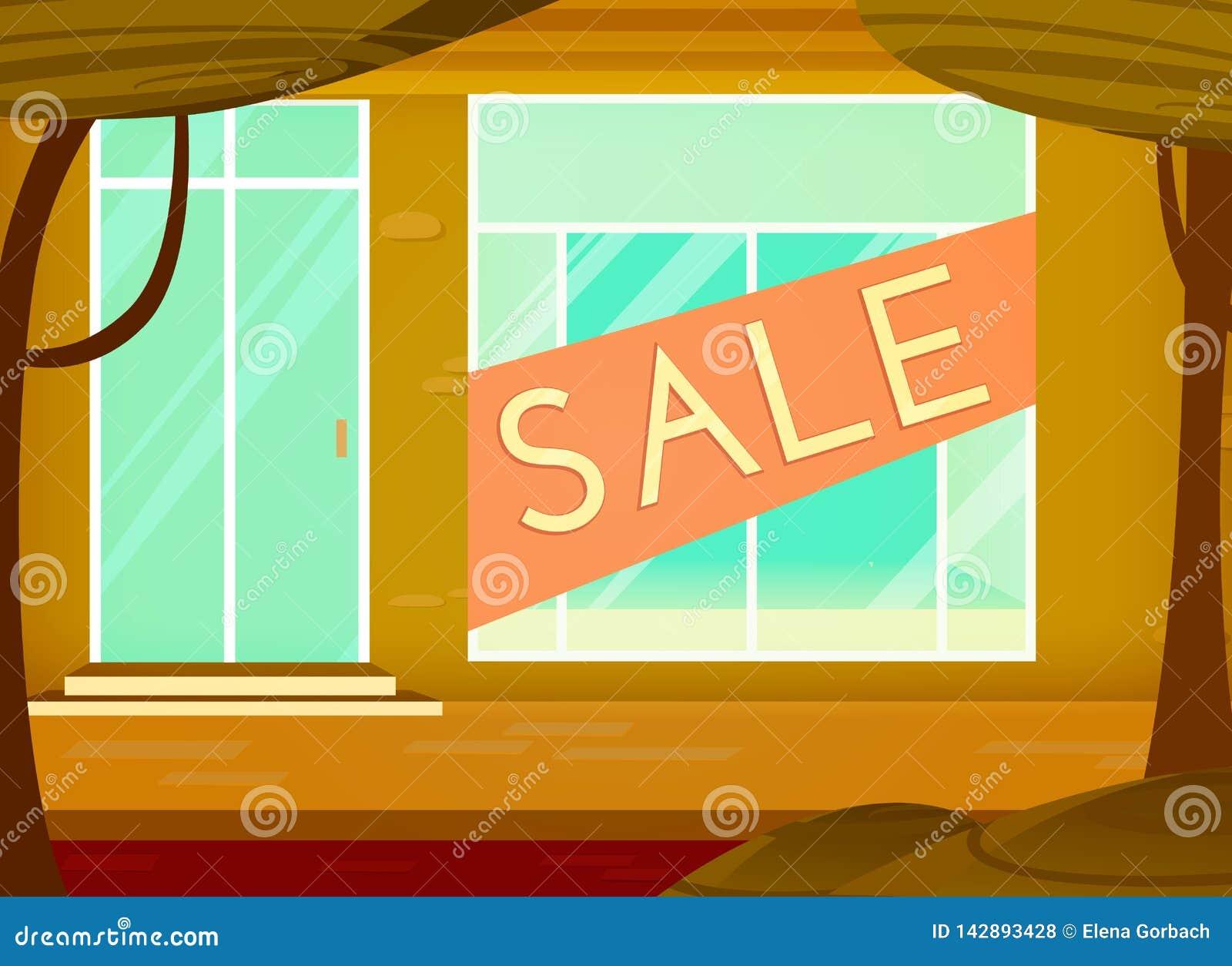 Fundo da venda da compra Estilo dos desenhos animados Janela de loja com sinal da venda Ilustra??o do vetor