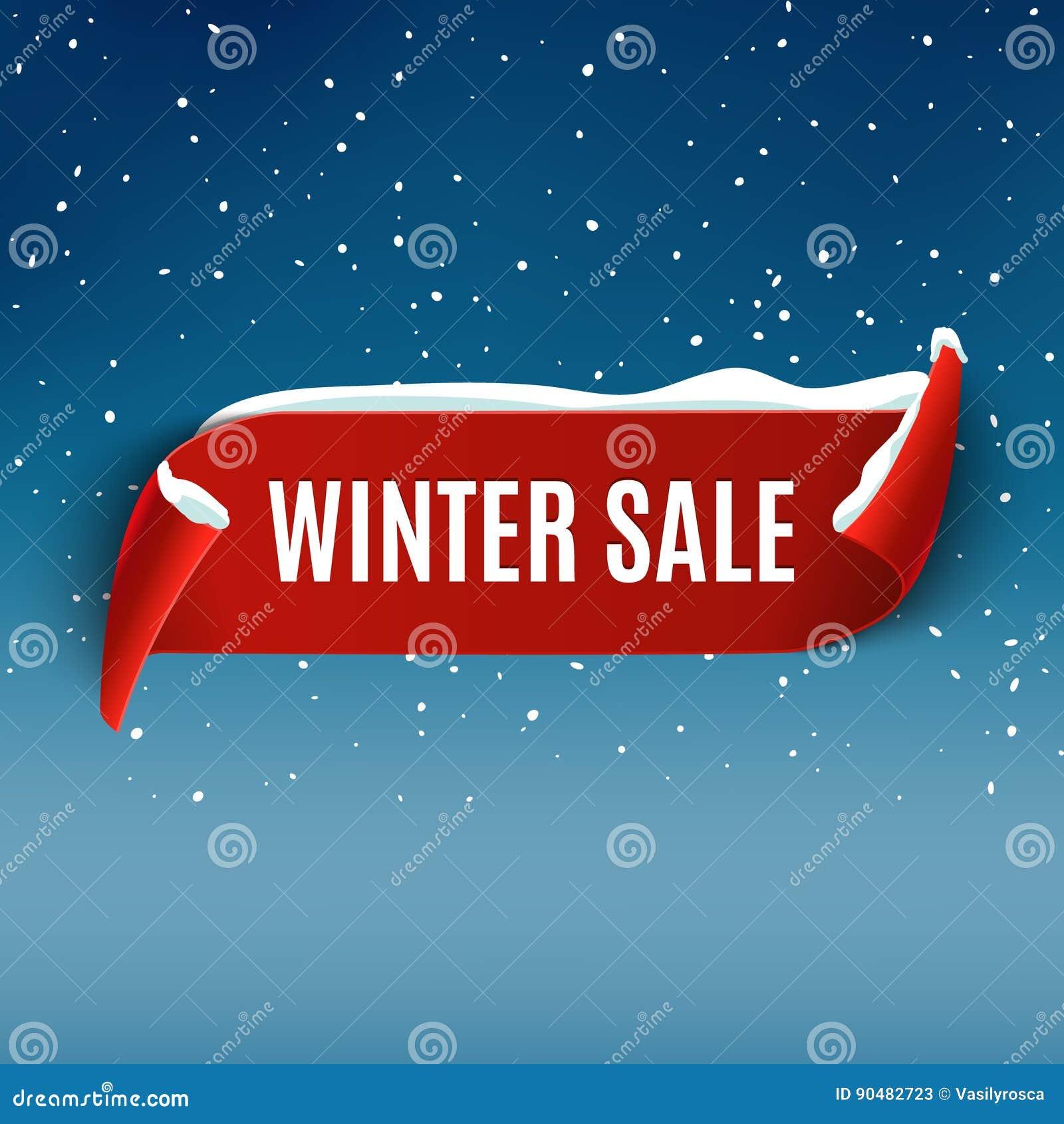 Fundo da venda do inverno com a fita realística vermelha Projeto relativo à promoção do cartaz ou da bandeira do inverno com neve