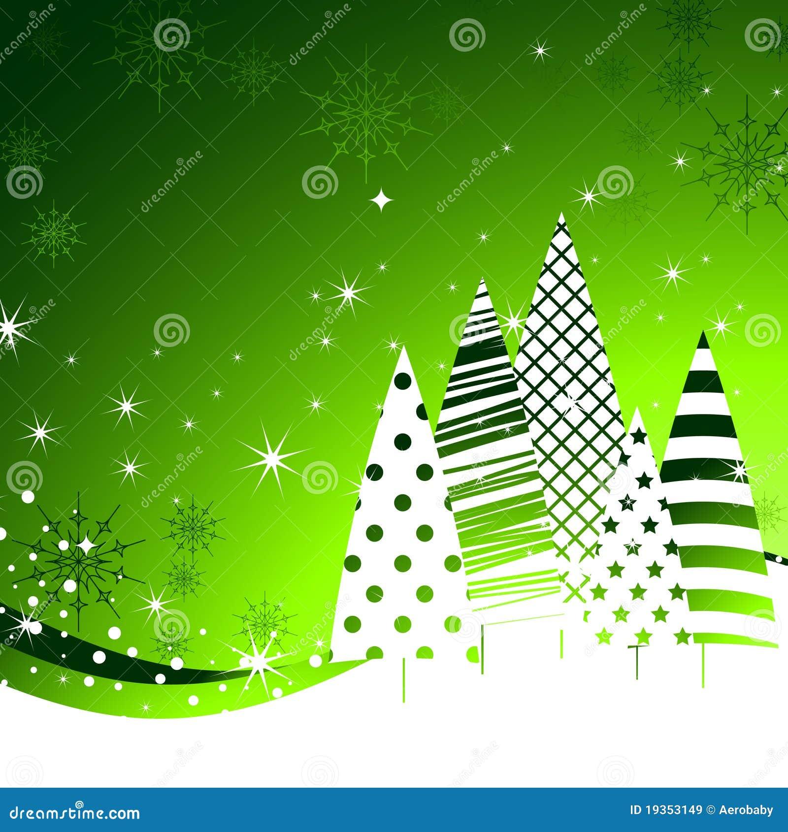 Fundo das árvores do verde do ano novo.