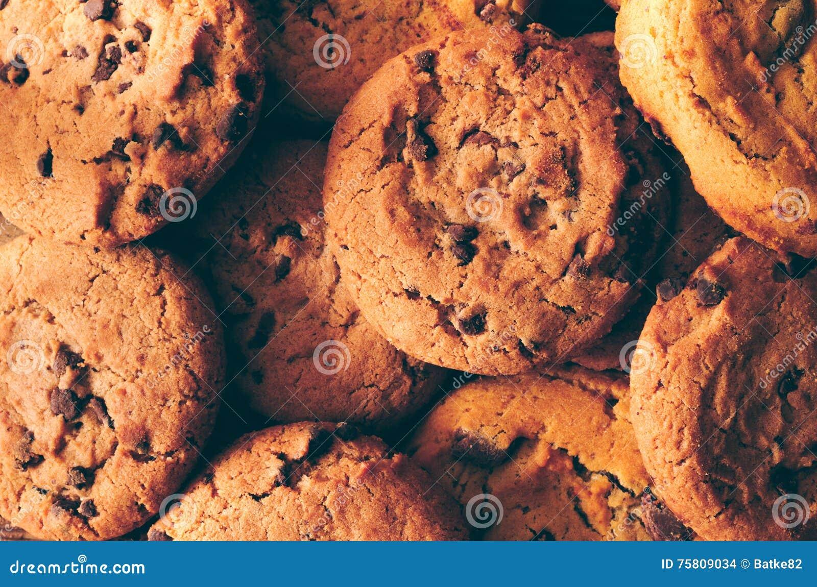 Fundo das cookies do chocolate - close up