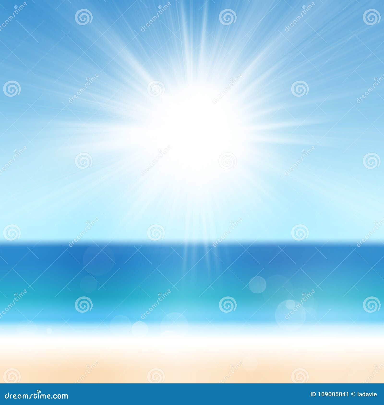 Fundo das férias de verão com água azul e o céu de Sun do mar do oceano da praia da areia