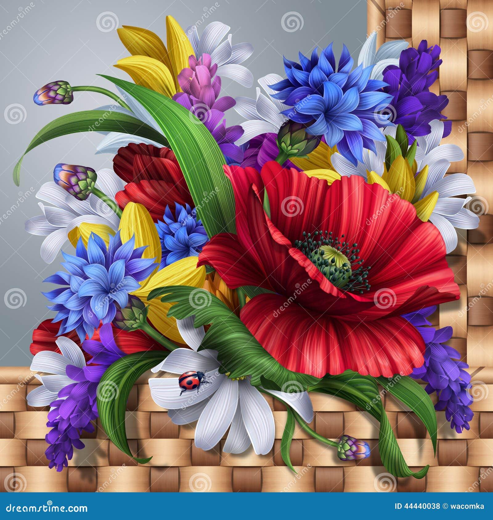 Fundo das flores selvagens; papoila, centáurea, margarida, alfazema